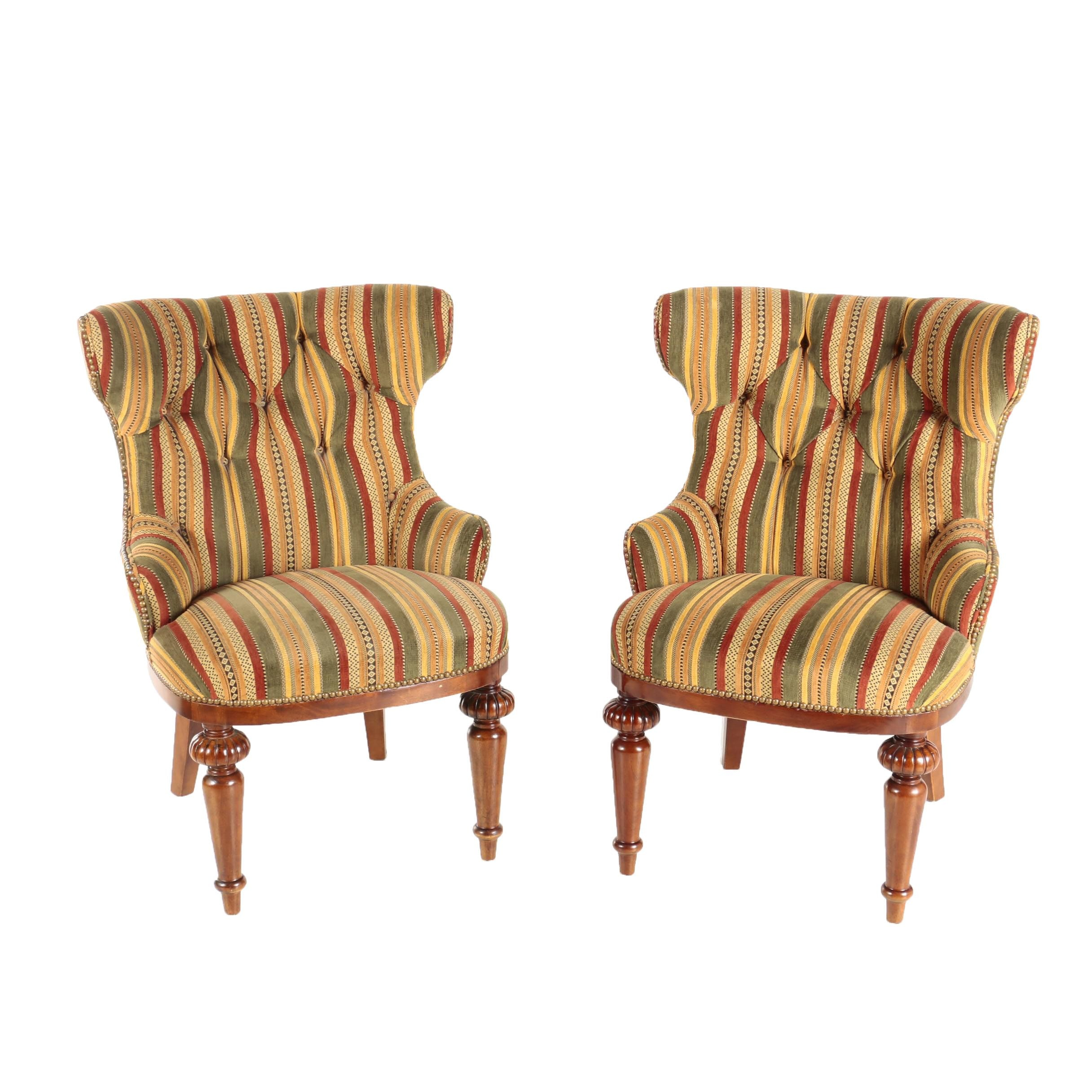 Pair of Louis Philippe Style Upholstered Armchairs, Late 20th Century