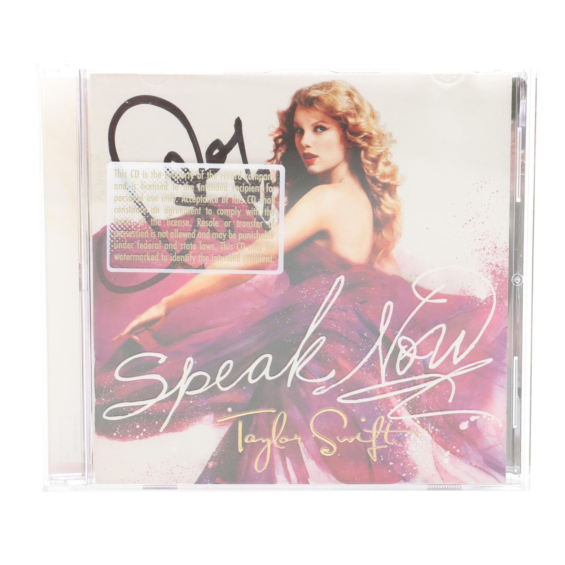 "Taylor Swift Signed ""Speak Now"" Compact Disc COA"