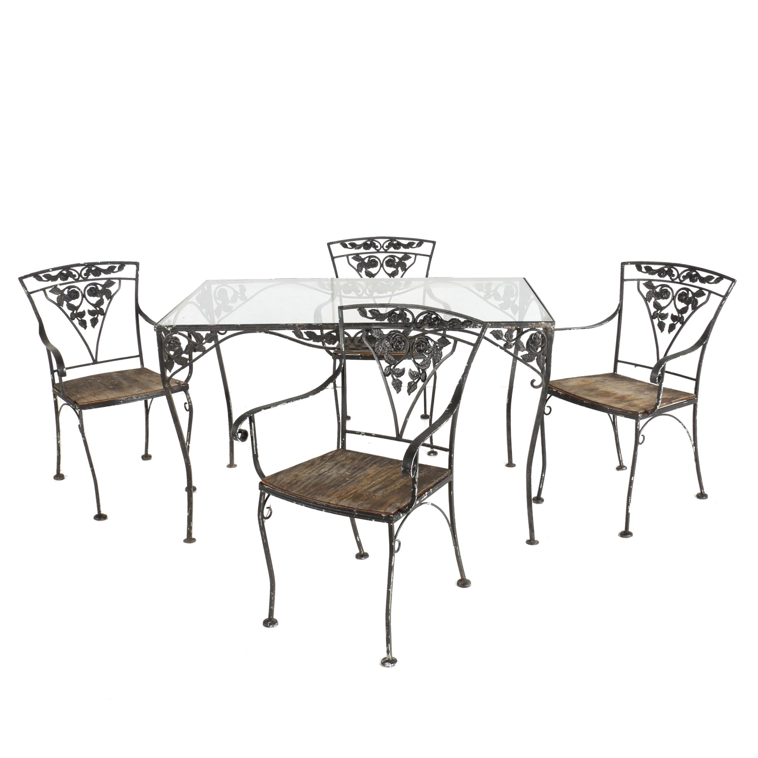 Metal Patio Table And Chairs, Mid to Late 20th Century