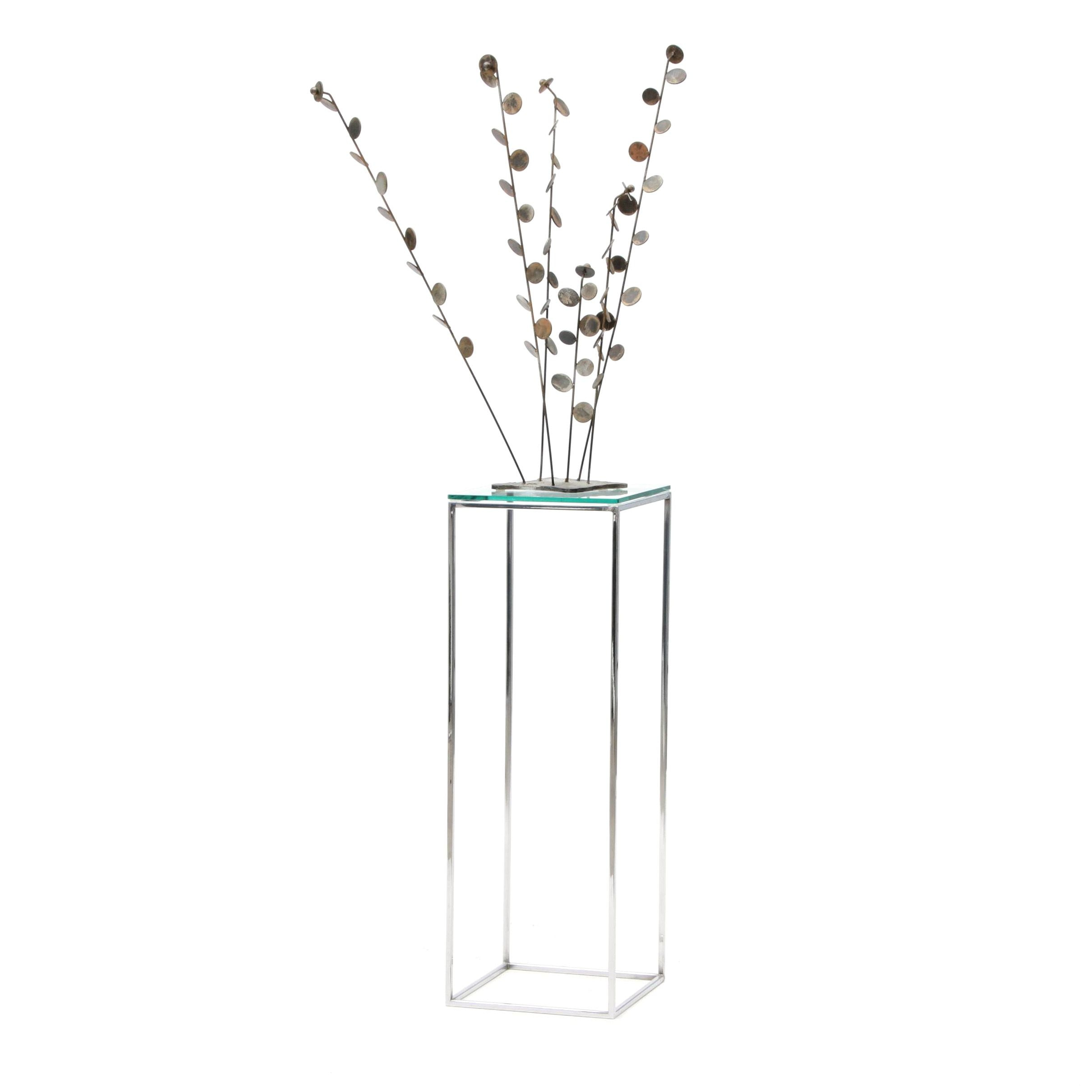 Abstract Metal Willow Sculpture on Stand