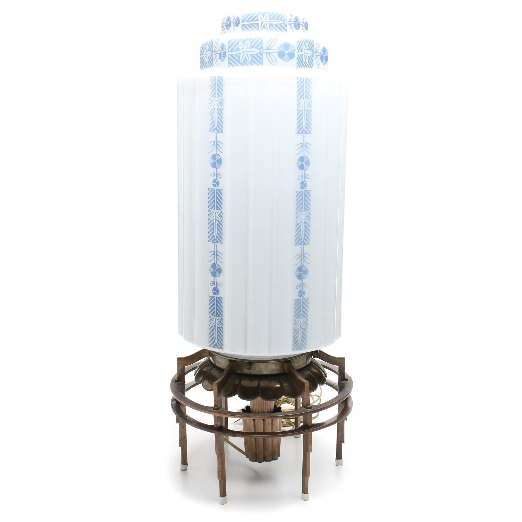 Oscar Bach Art Deco Lamp from Cincinnati Bell Building
