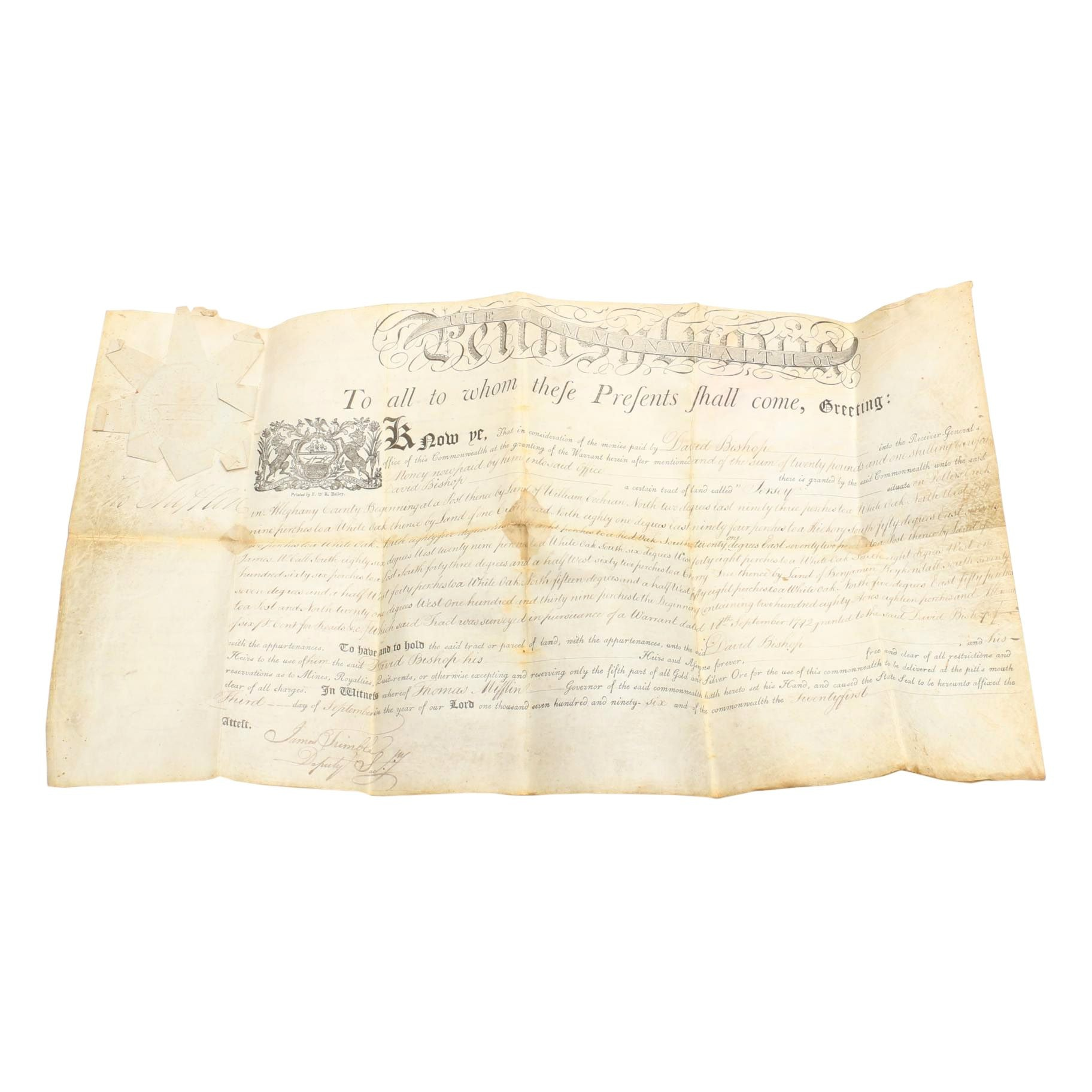 1792 F&R Bailey Print of Allegheny County Land Warrant