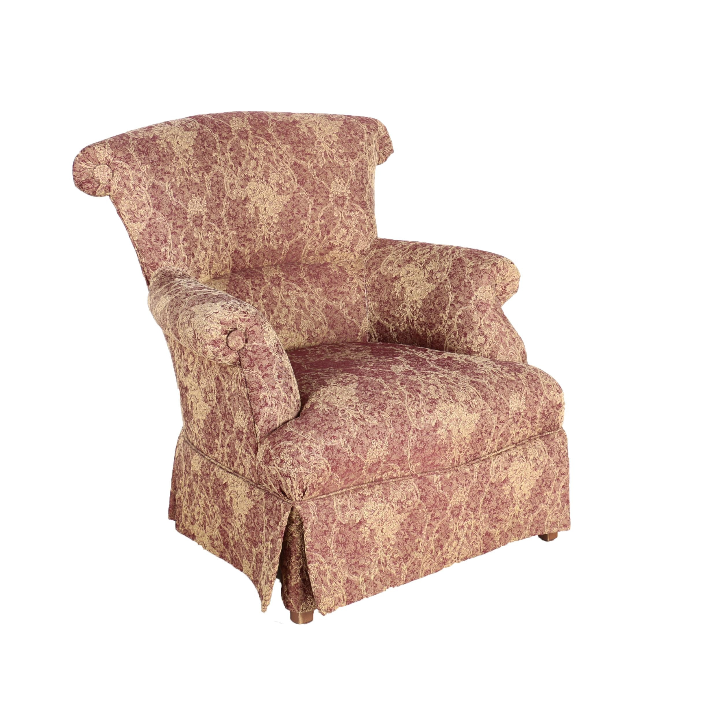 Contemporary Jacquard Upholstered Armchair by Ethan Allen