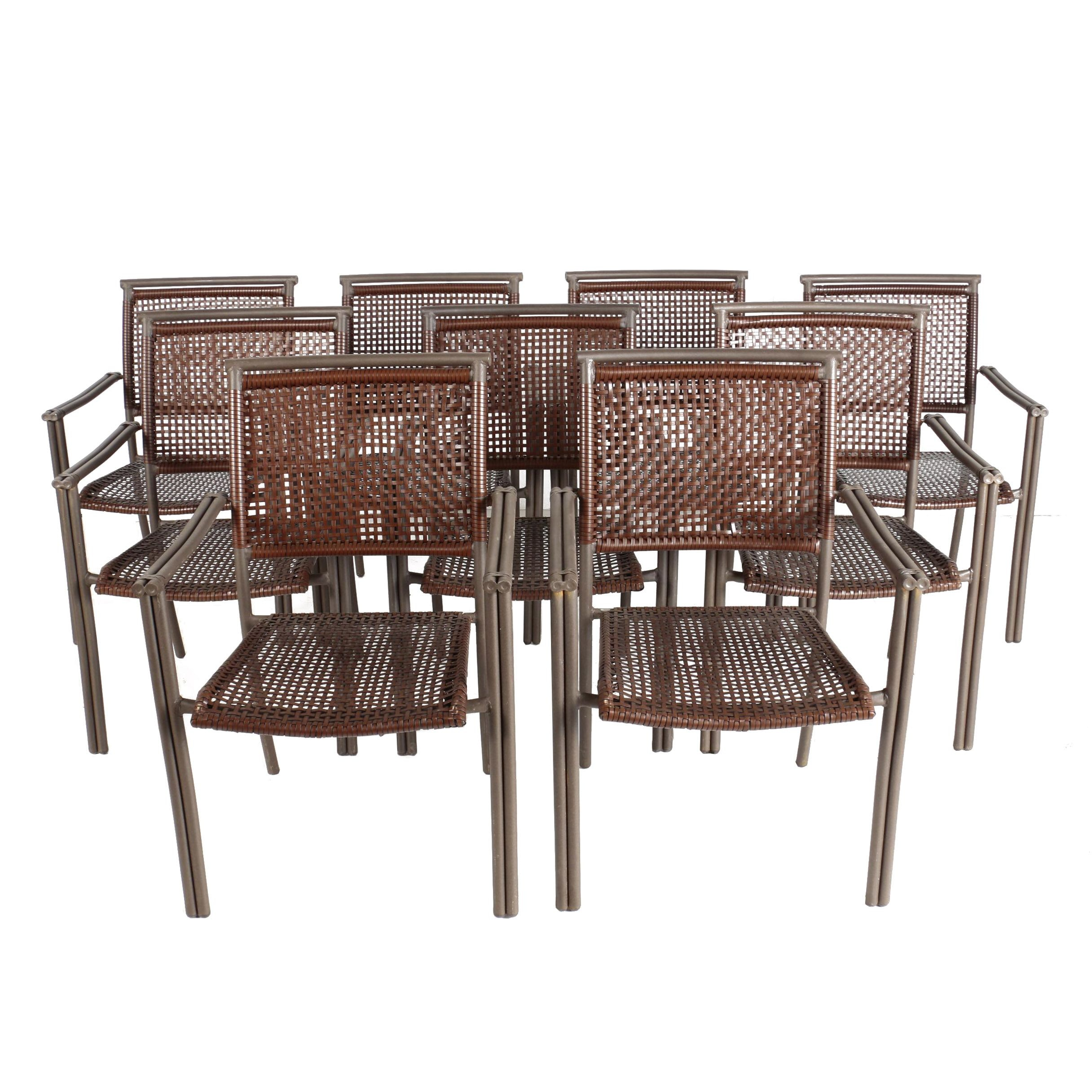 Nine Woven Stacking Patio Chairs
