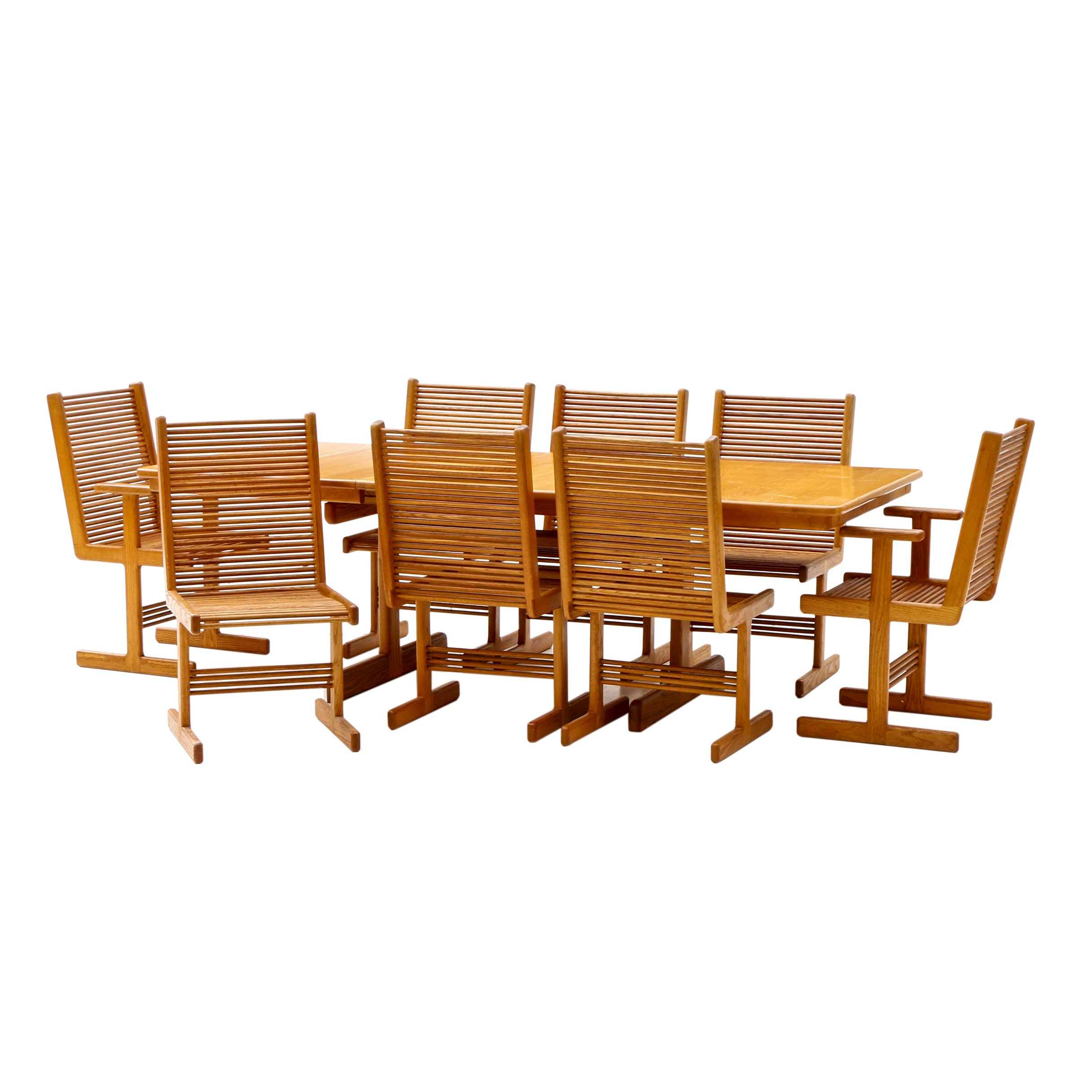 Stephen Hynson Oak Dowel Dining Table and Eight Chairs
