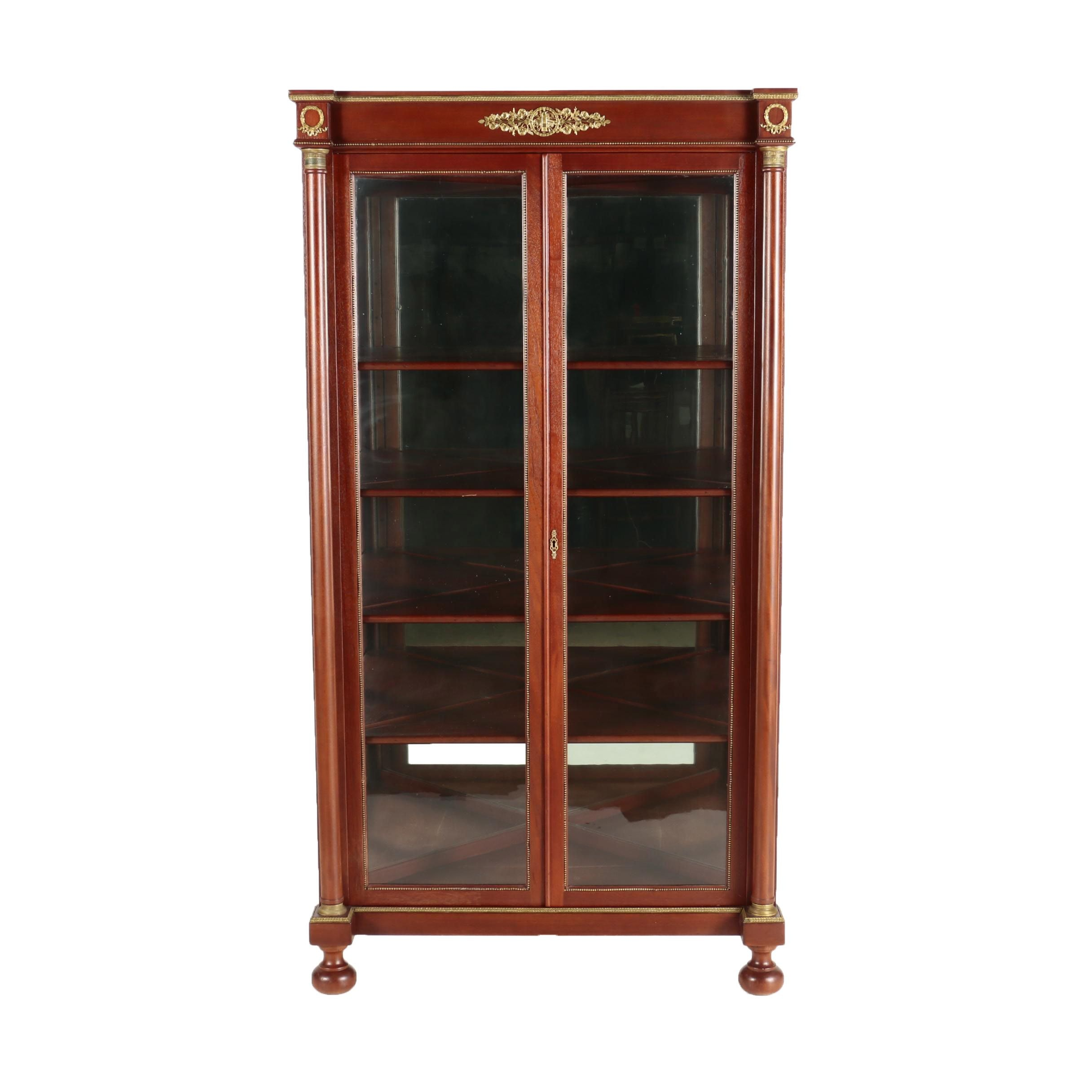 Louis Philippe Style Gilt-Metal & Mahogany Corner Display Cabinet, 20th Century
