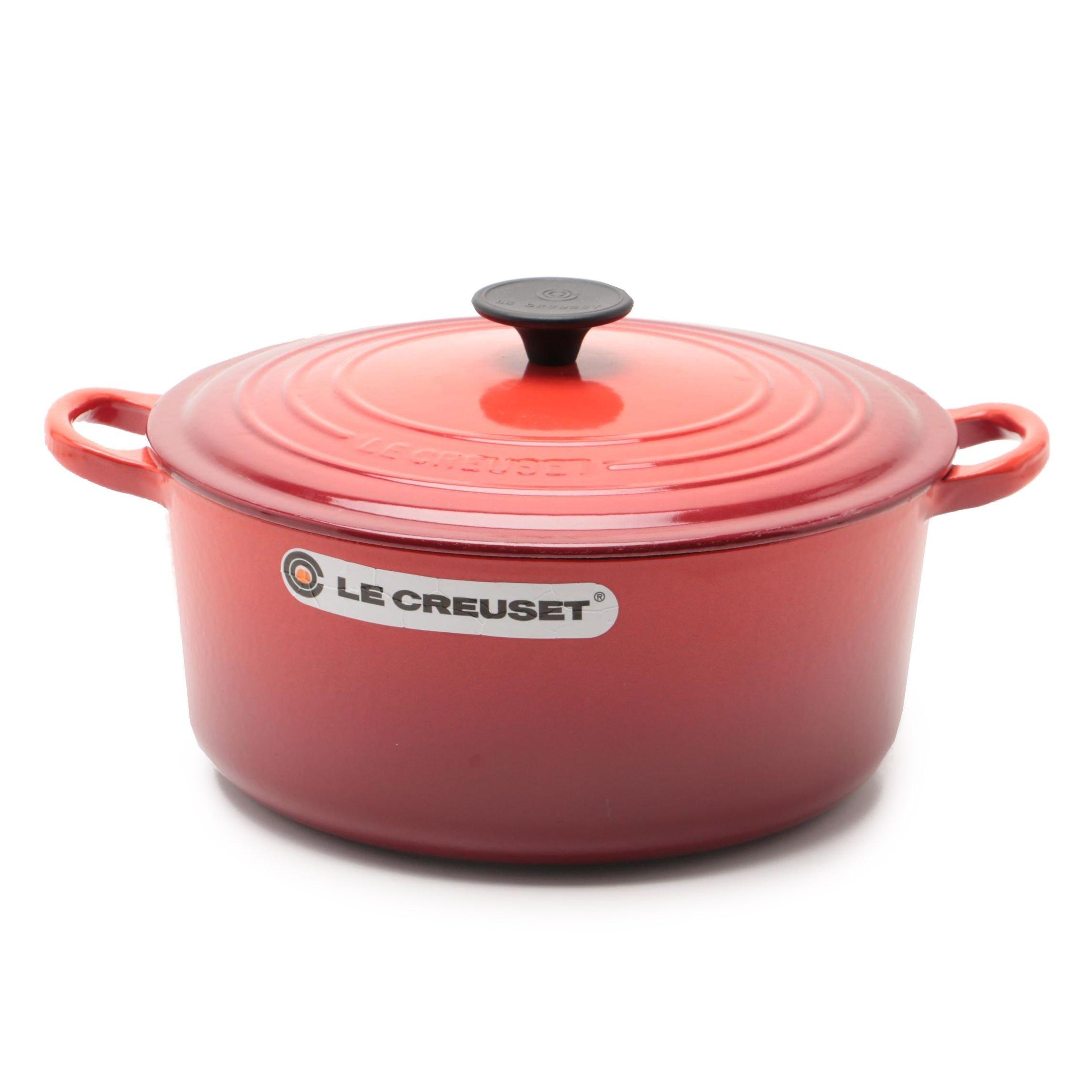 Le Creuset Red Enameled Cast Iron Dutch Oven