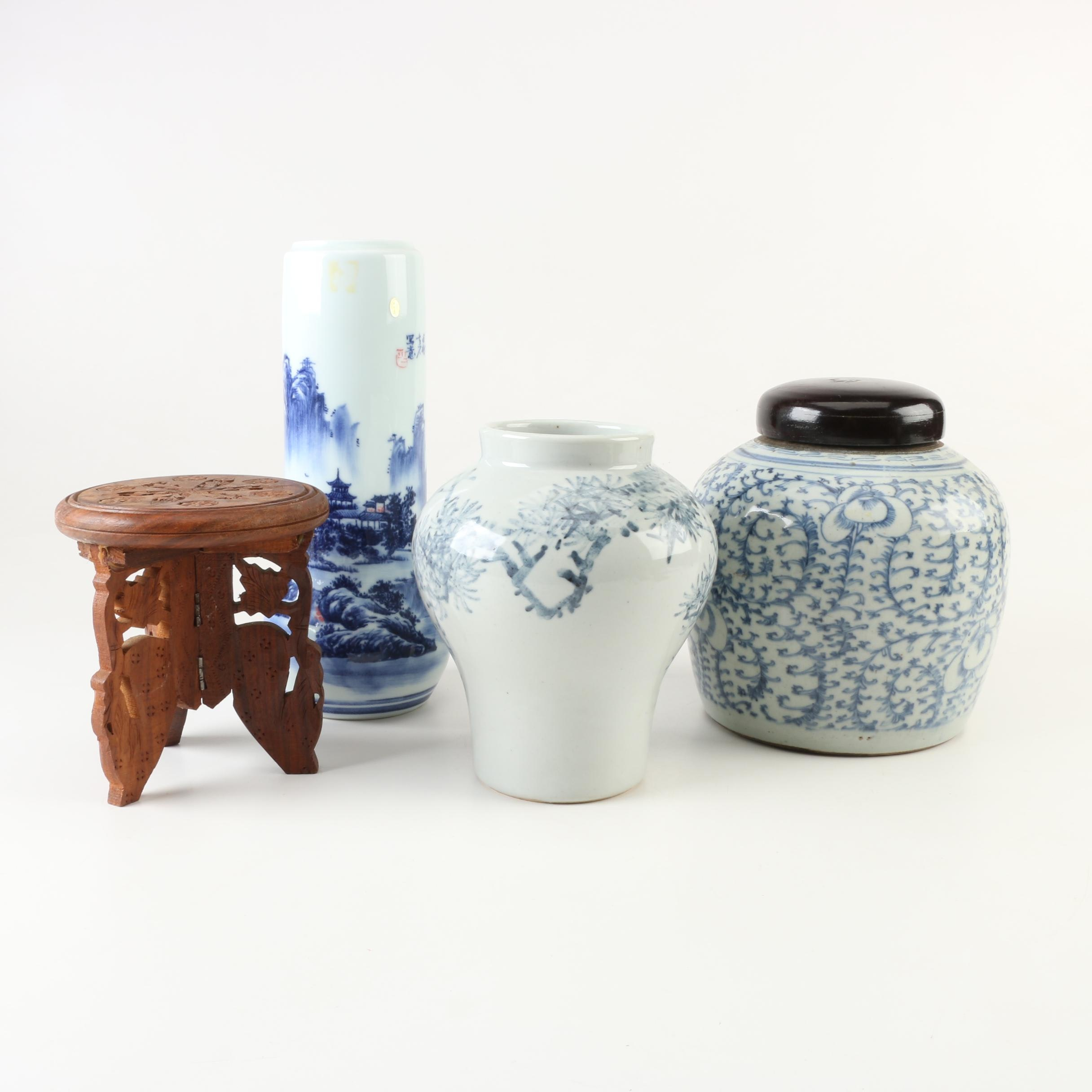 """Chinese Hand-Painted """"Lotus"""" Ginger Jar, Vases, and Carved Wooden Stand"""