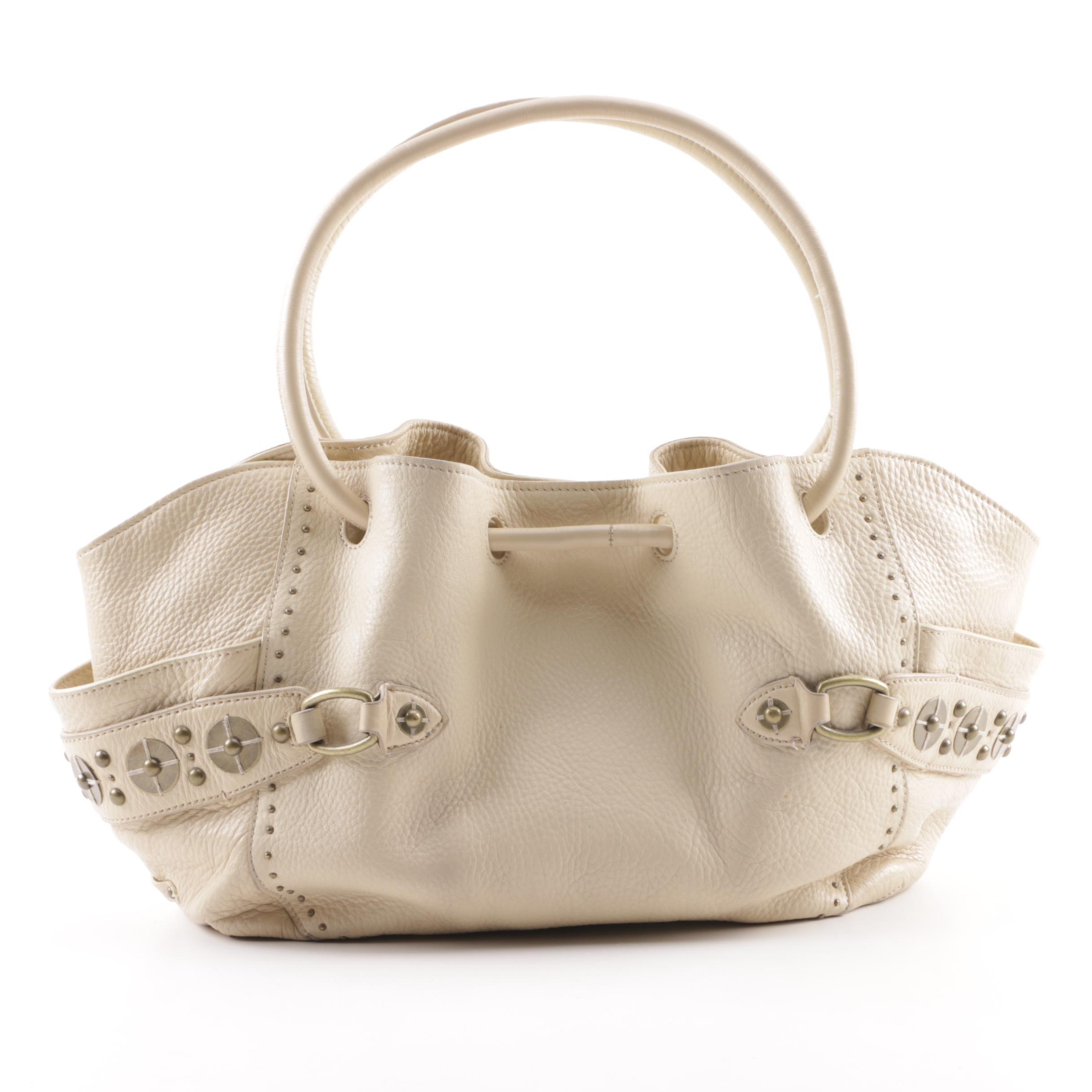 Cole Haan Village Paillette Studded Beige Pebbled Leather Hobo Bag