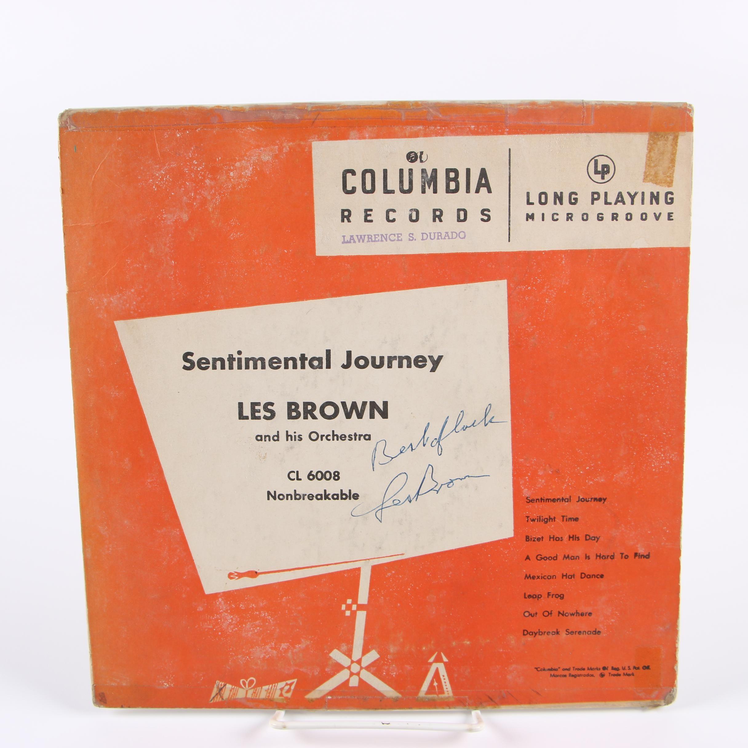"Autographed Les Brown ""Sentimental Journey"" Record"