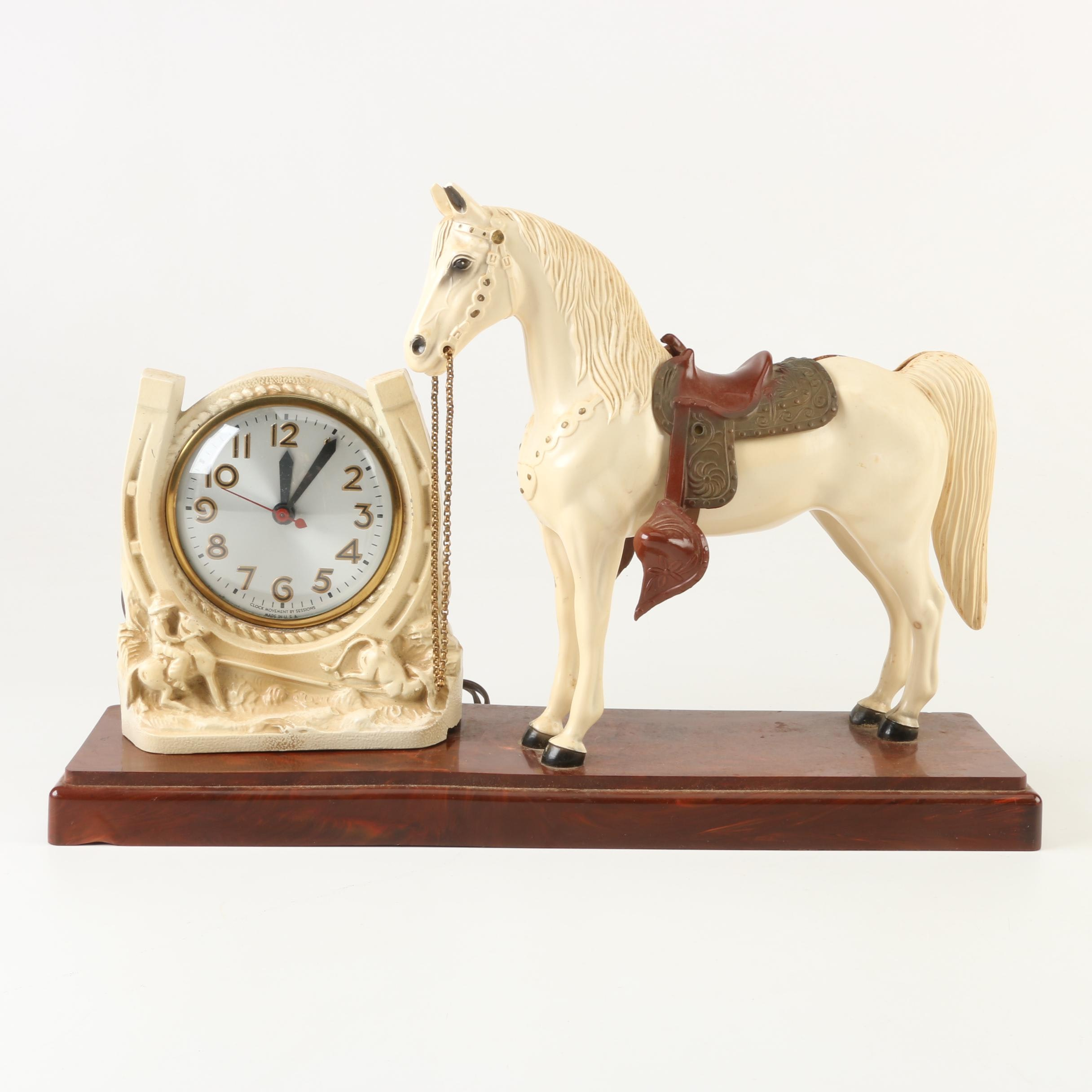 Sessions Western Horse Table Clock, 1940s