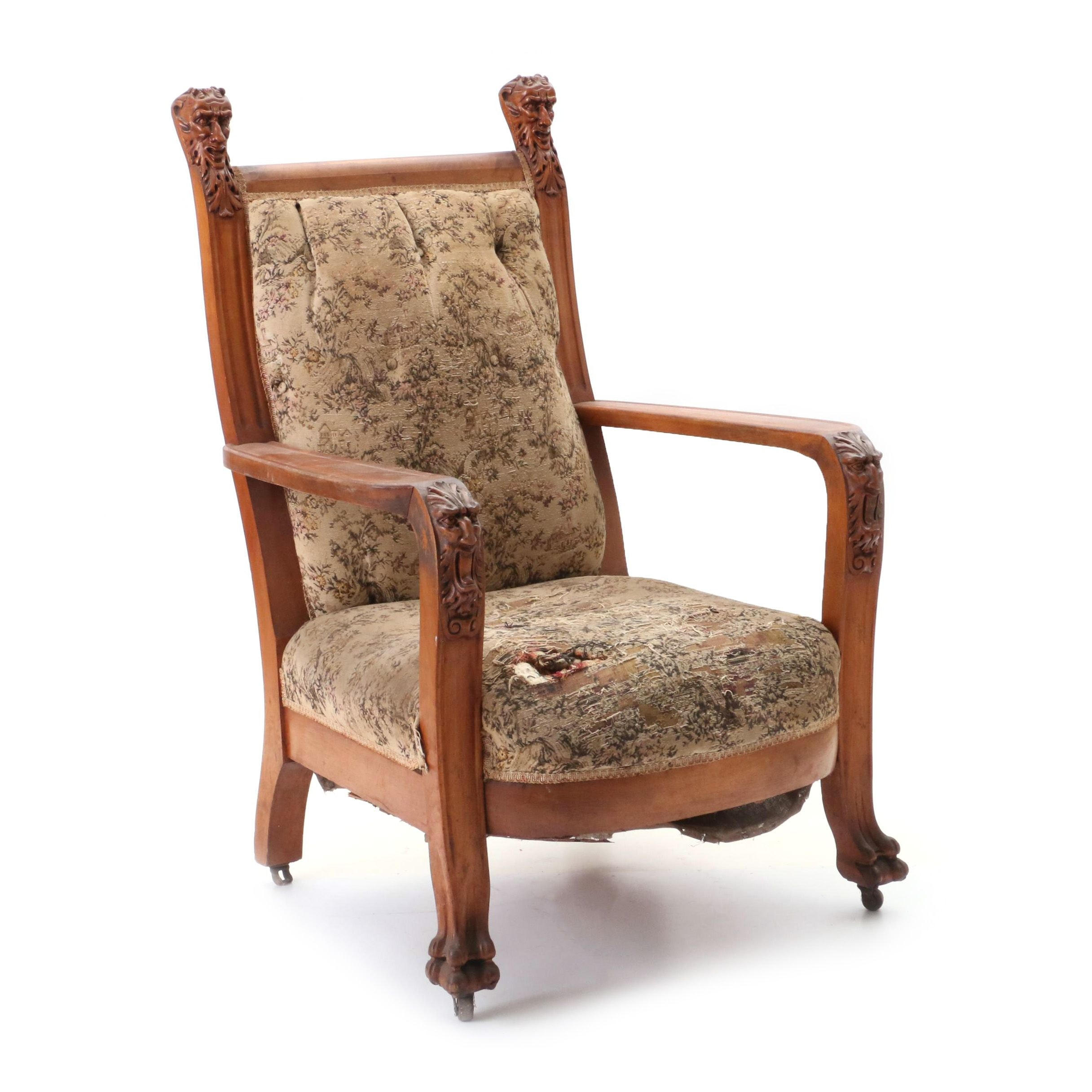 Victorian Carved Birch Arm Chair, Turn of 20th Century