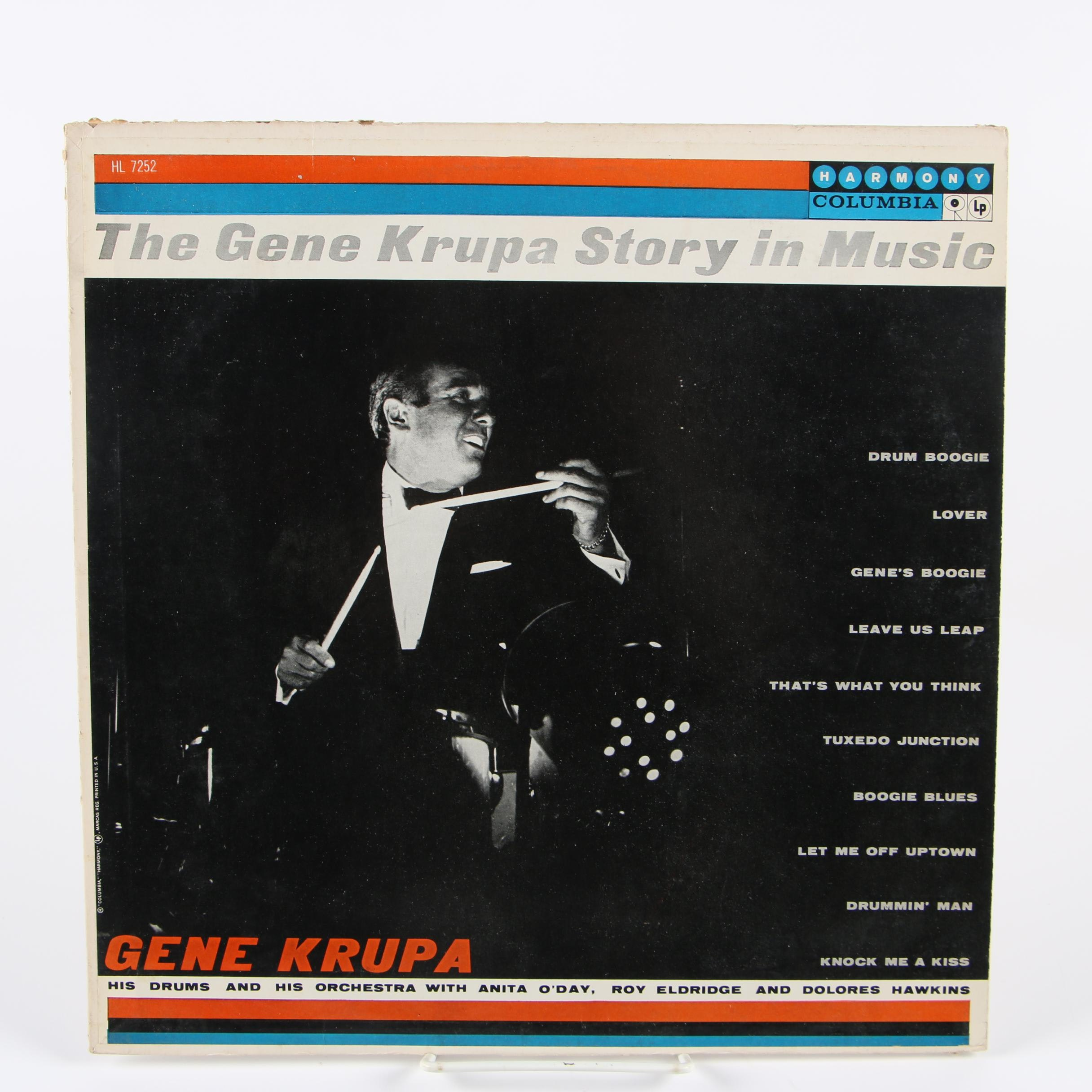 "Gene Krupa Autographed ""The Gene Krupa Story In Music"" Record"