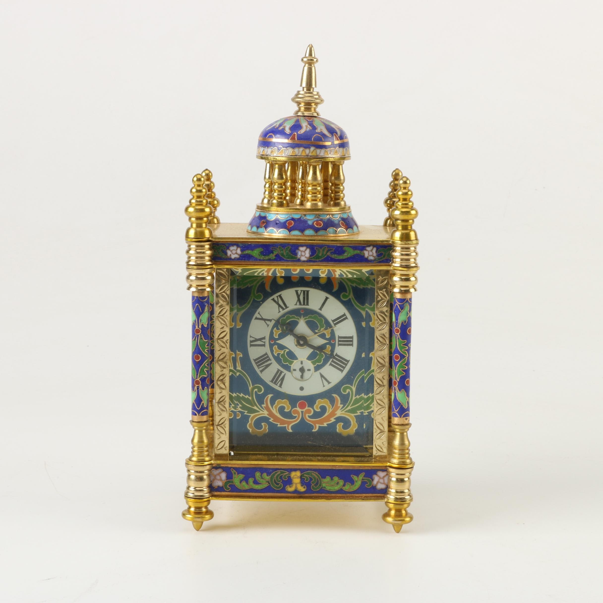 Chinese Cloisonné Empire Style Mantel Clock