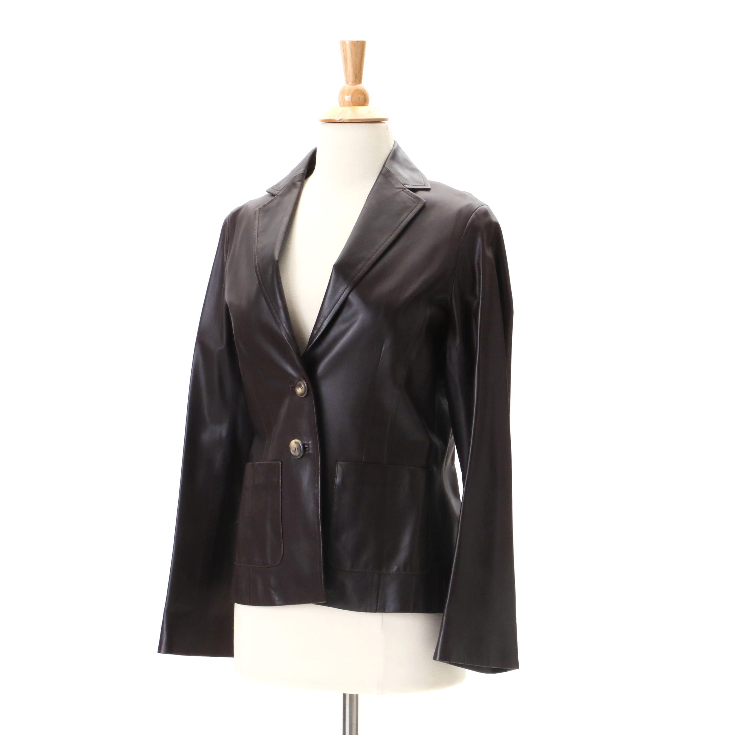Céline Dark Brown Lambskin Leather Jacket