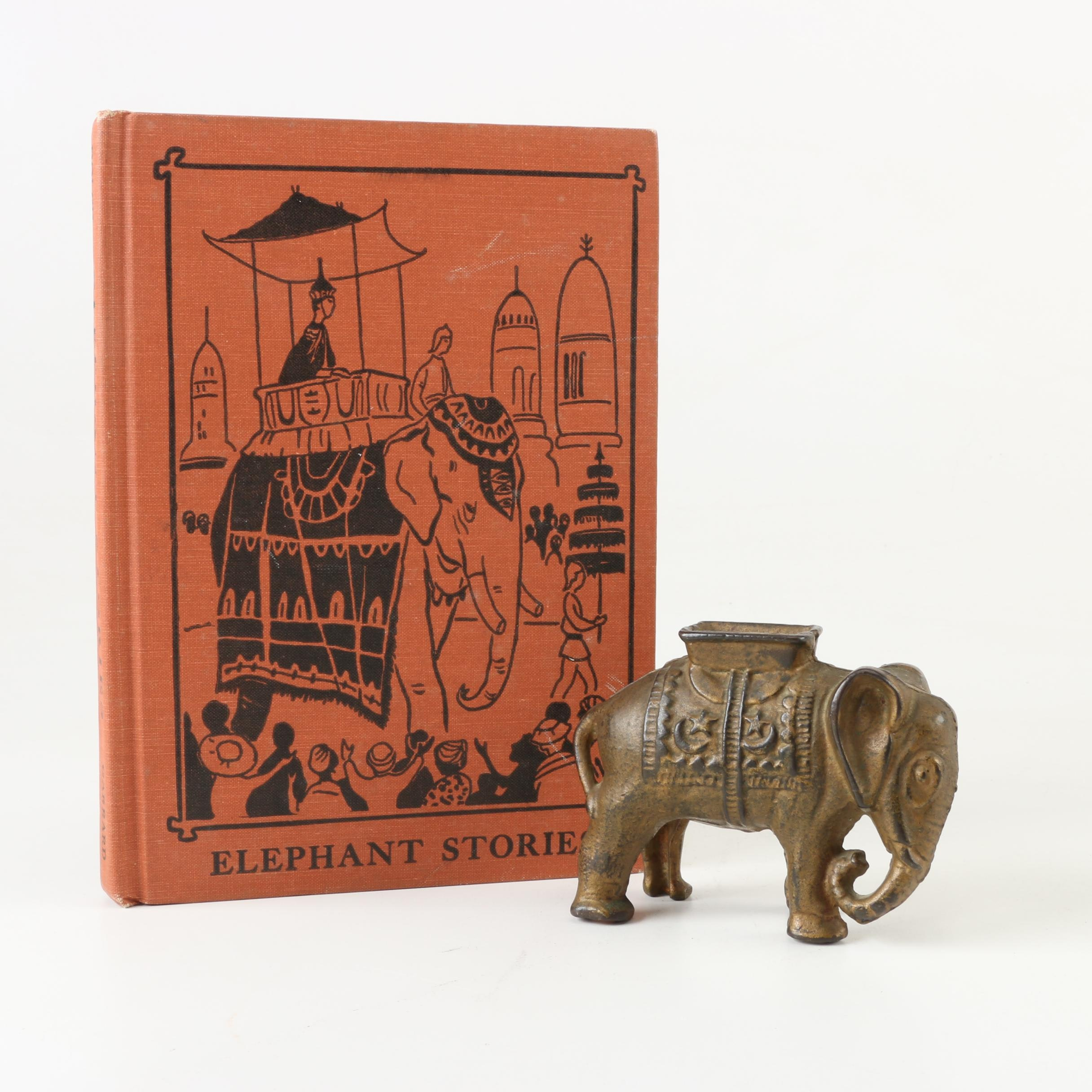 "1956 ""Elephant Stories"" Children's Vocabulary Book and Elephant Coin Bank"