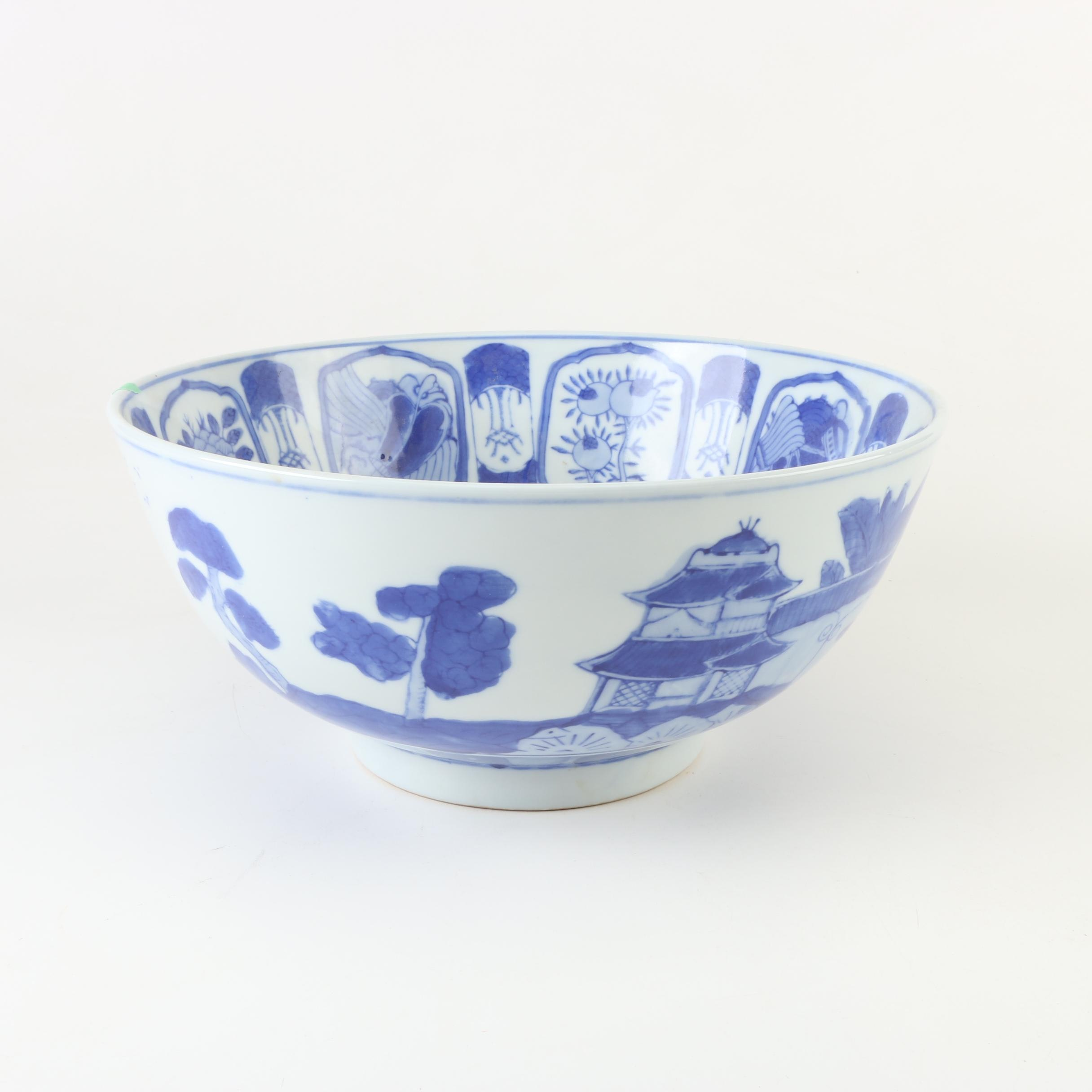 Contemporary Chinese Canton Style Blue and White Ceramic Centerpiece Bowl