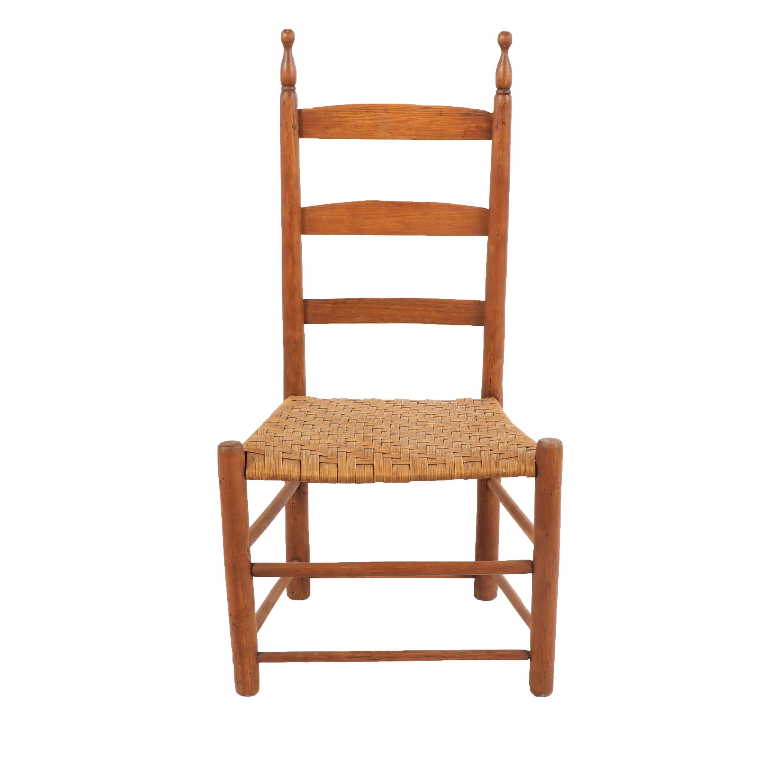 Ladderback Chair With Woven Seat, Early 20th Century ...