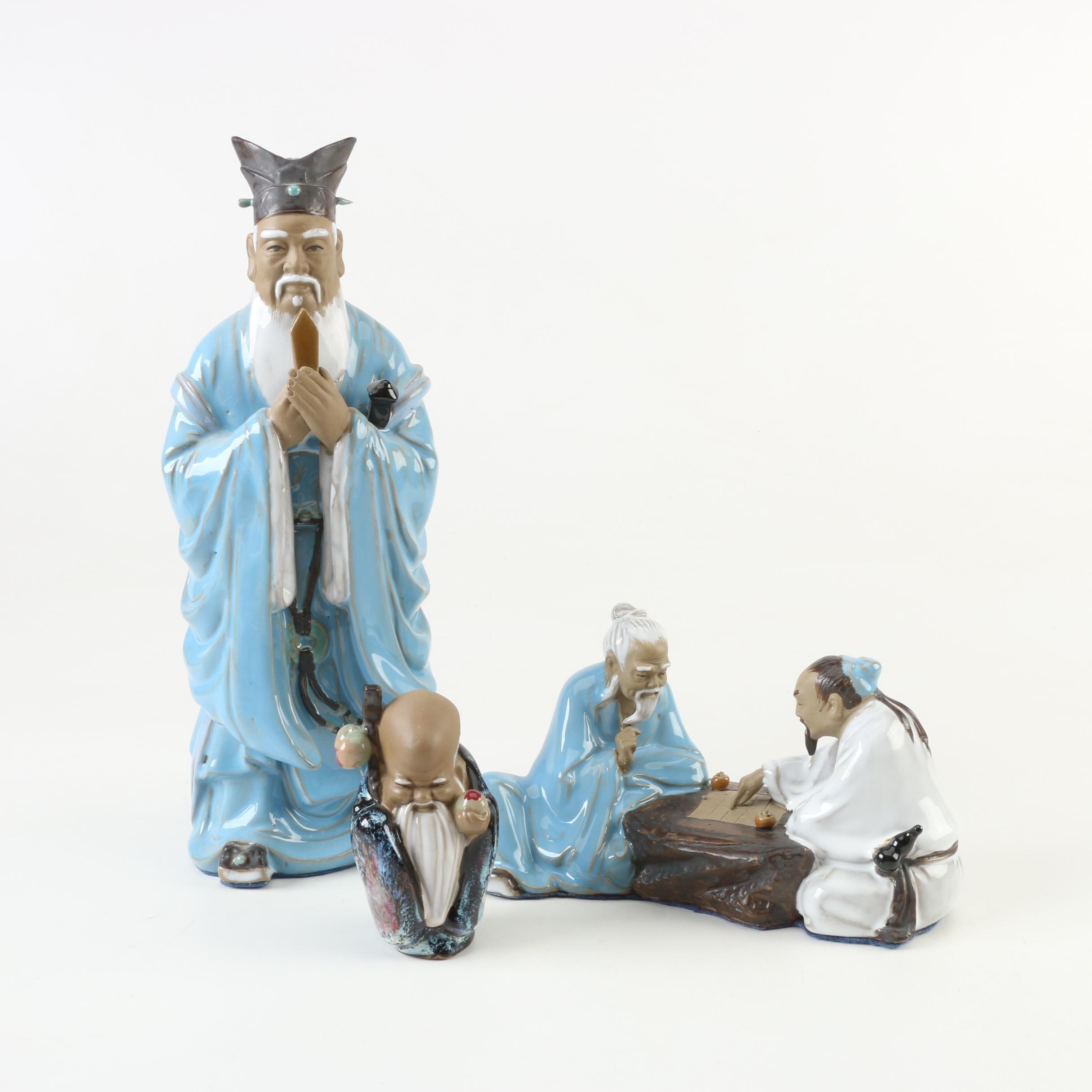 Chinese Shiwan Ware Earthenware Figurines