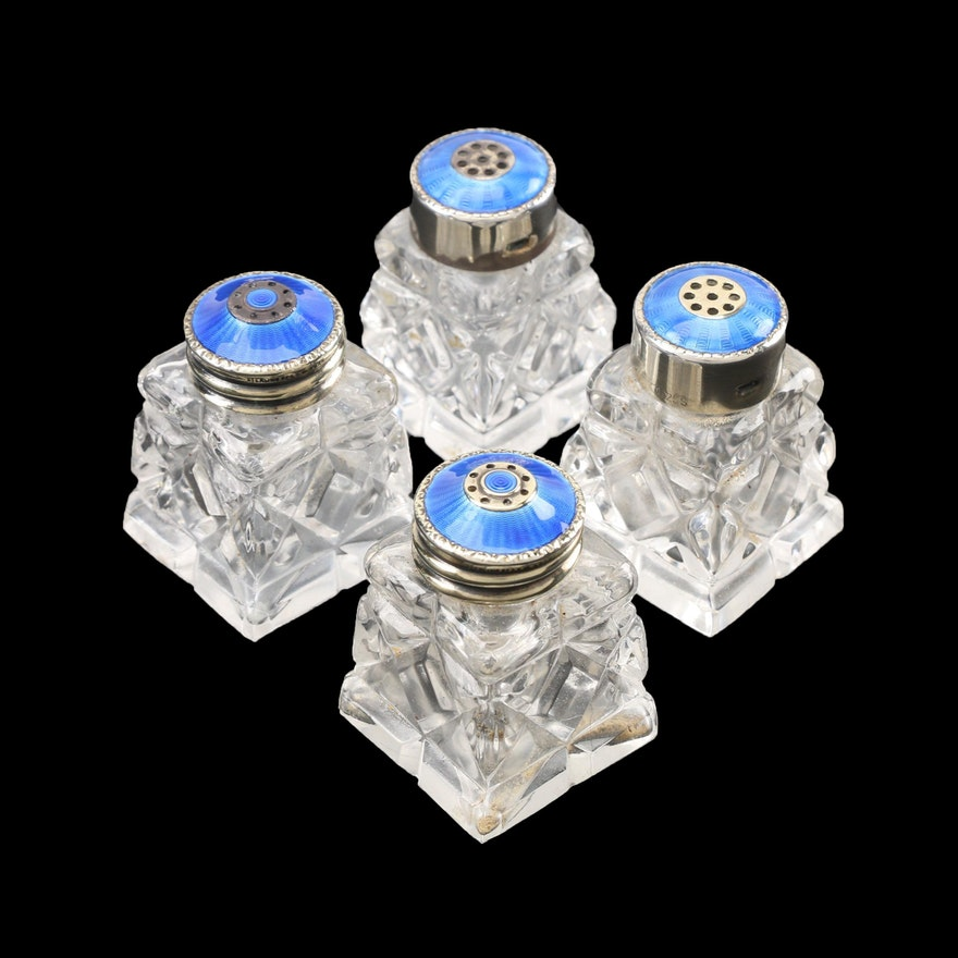 Norwegian Glass Condiment Shaker Sets with Guilloché Enameled Sterling Lids