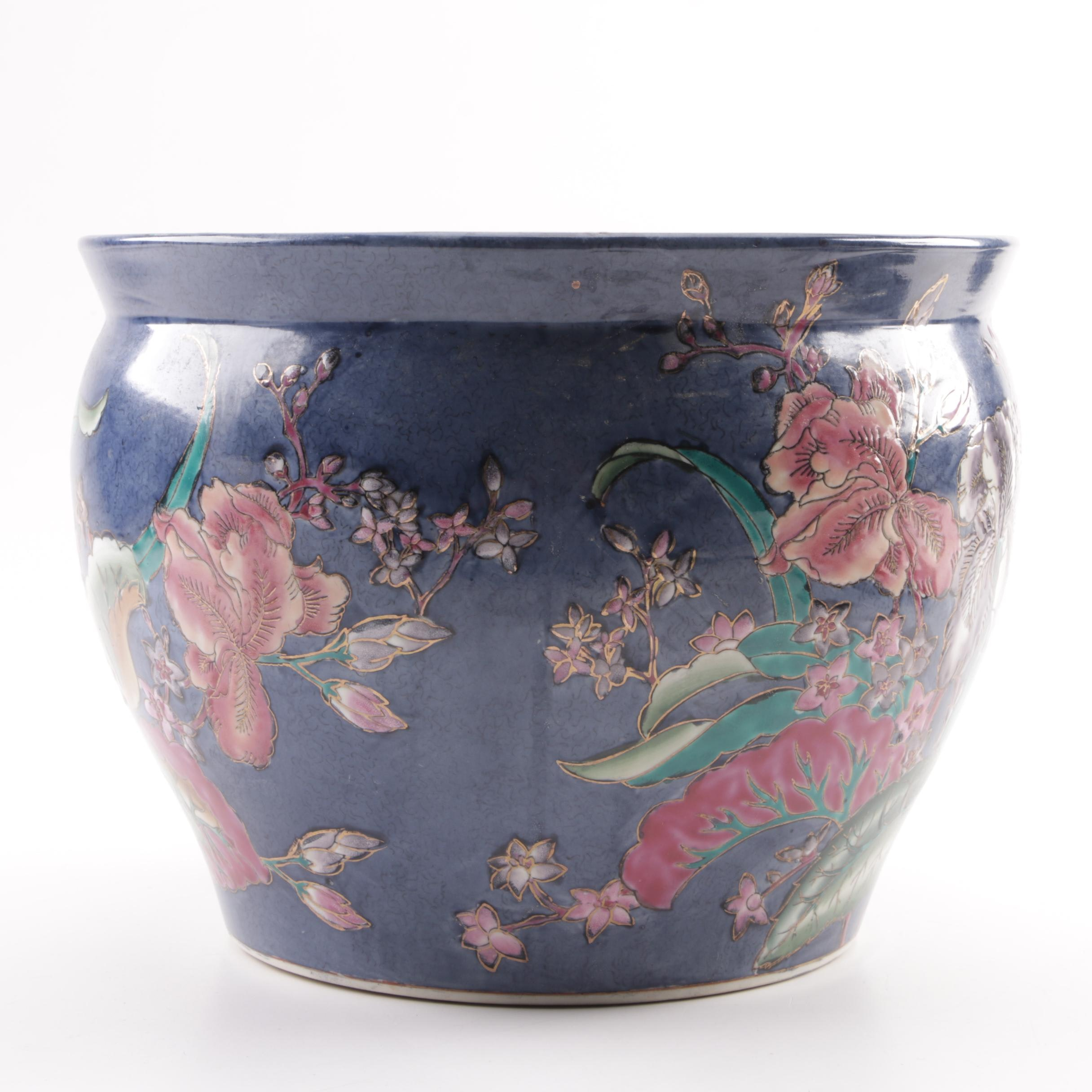 Chinese Hand-Painted Floral Themed Fish Bowl Ceramic Planter