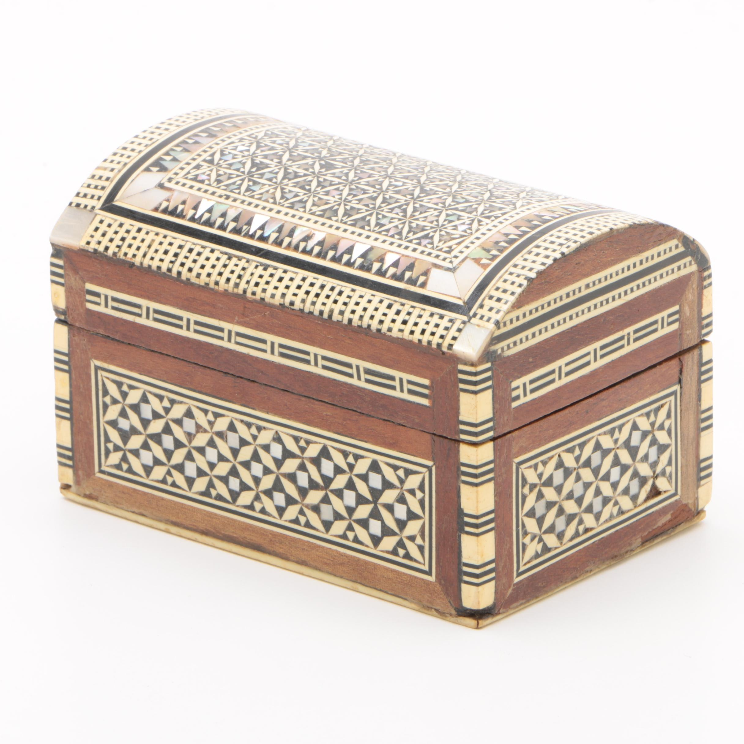 Moroccan Inspired Wood Box Inlaid with Mother of Pearl, Abalone and Bone