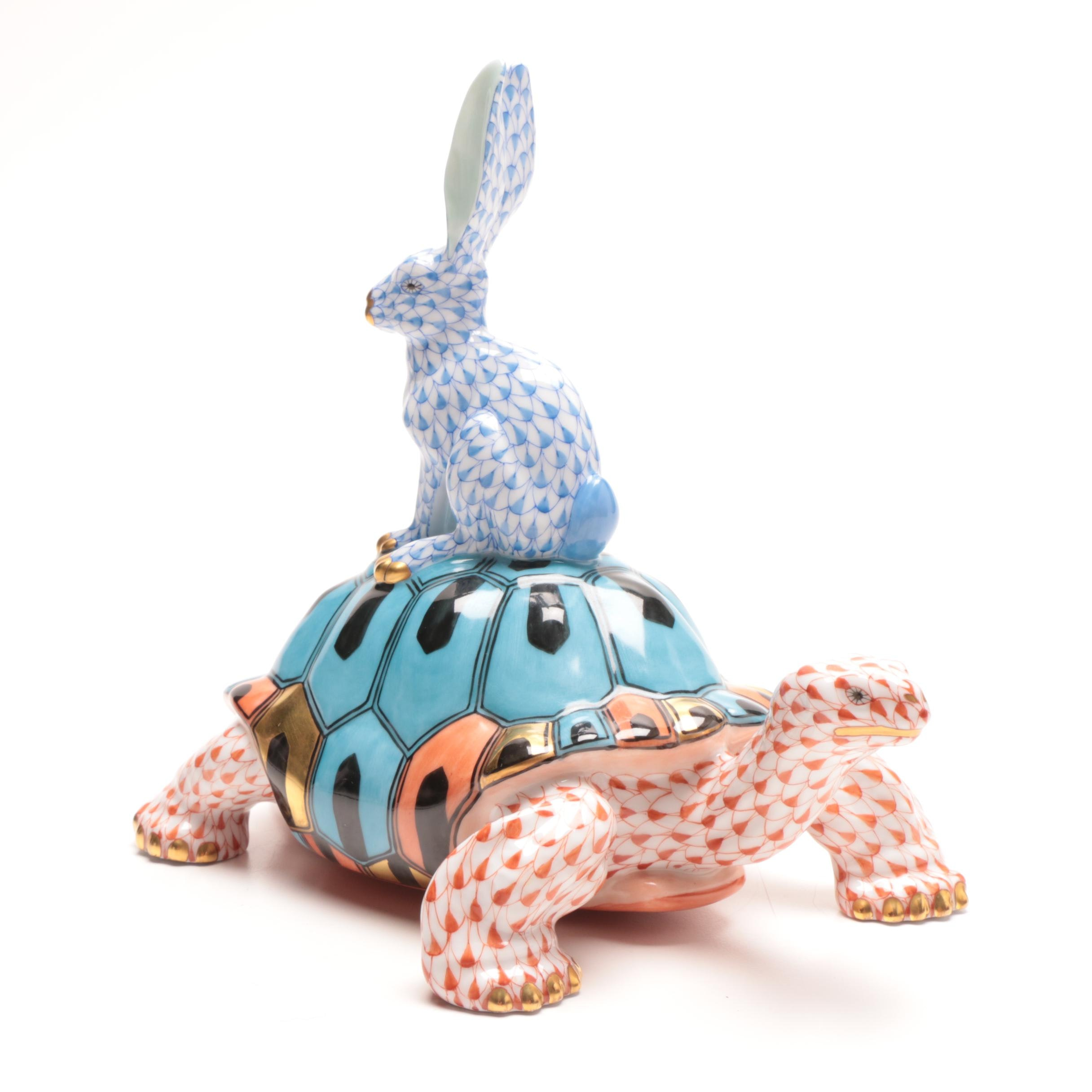 Herend Tortoise and Hare Figurine