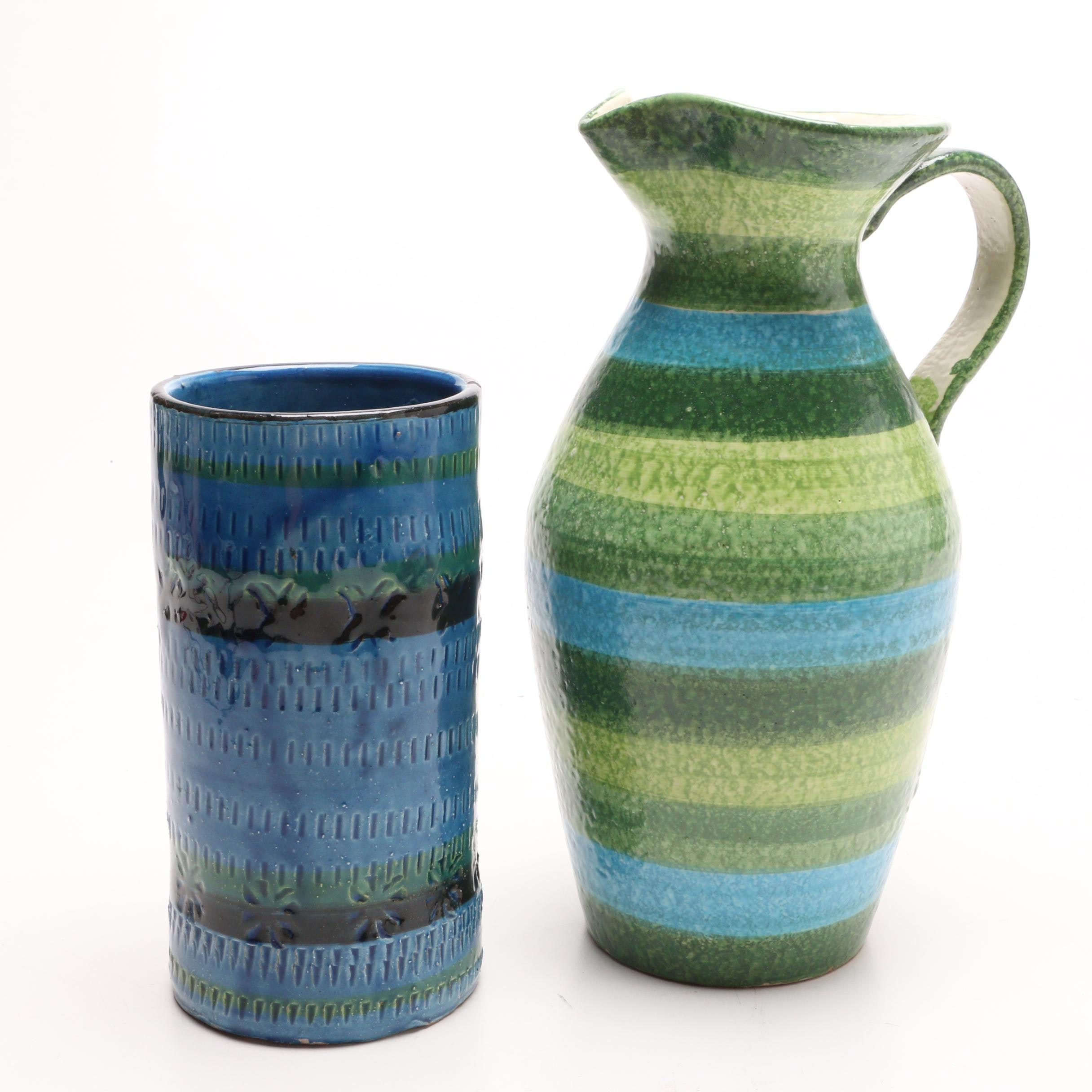Italian Pottery Vase and Pitcher In the Style of Londi