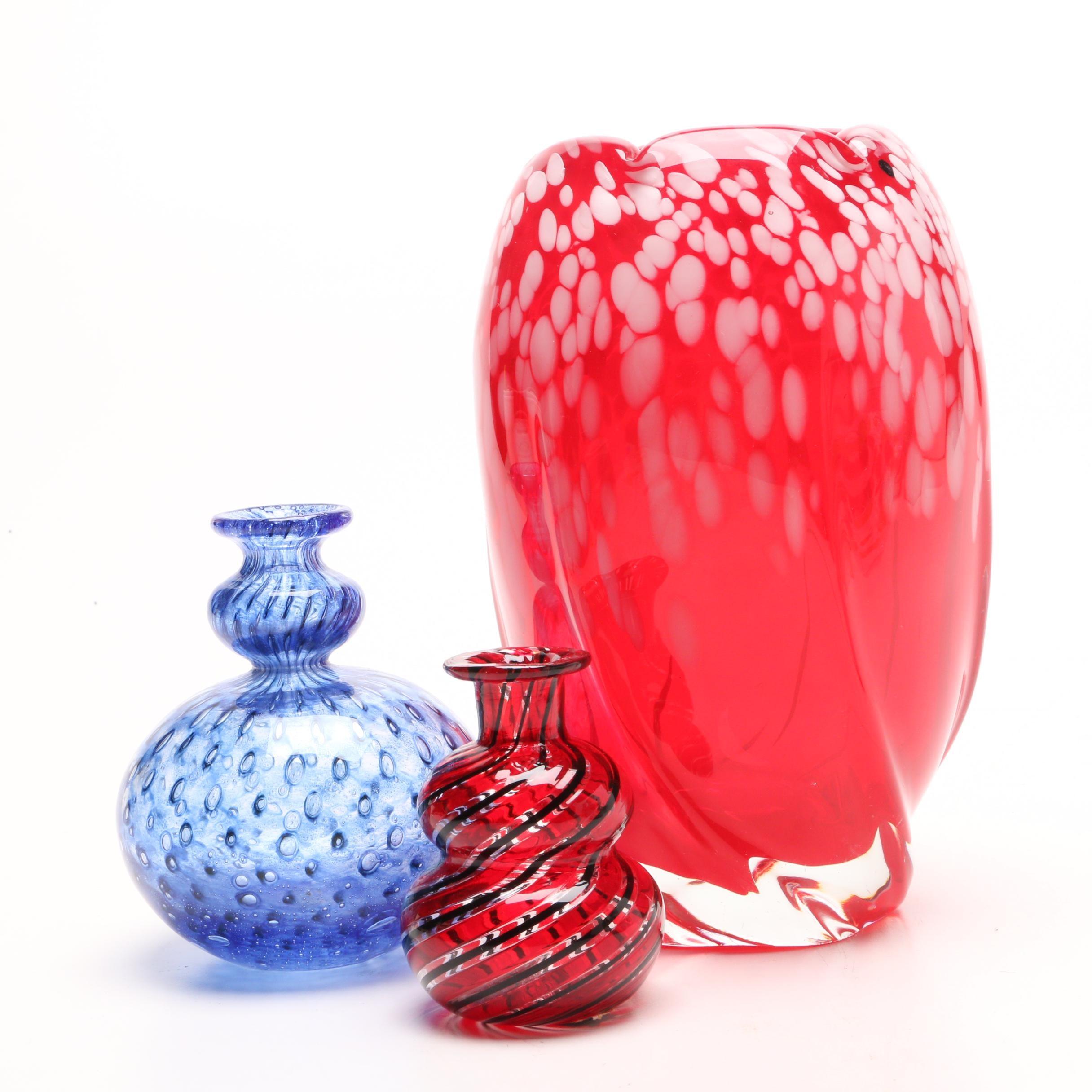 Japanese Dolphin Glass Vase, Signed Bertil Vallien Kosta Boda Vase and Murano