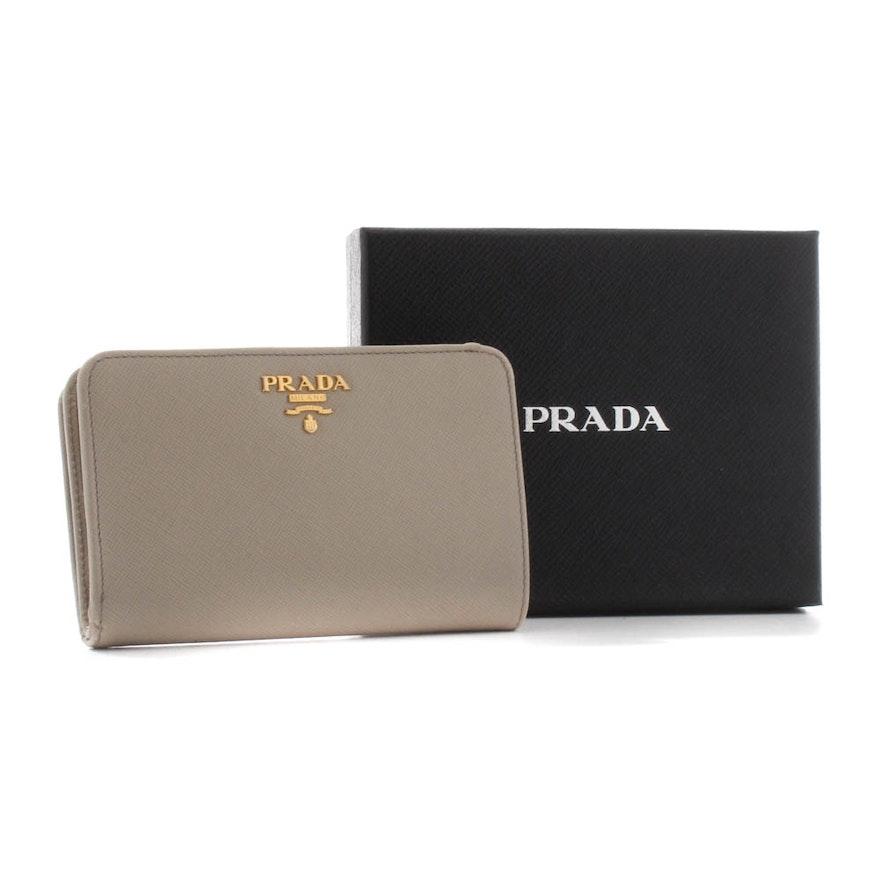 d37efc5c798829 Prada Saffiano Taupe Leather Bifold Wallet : EBTH