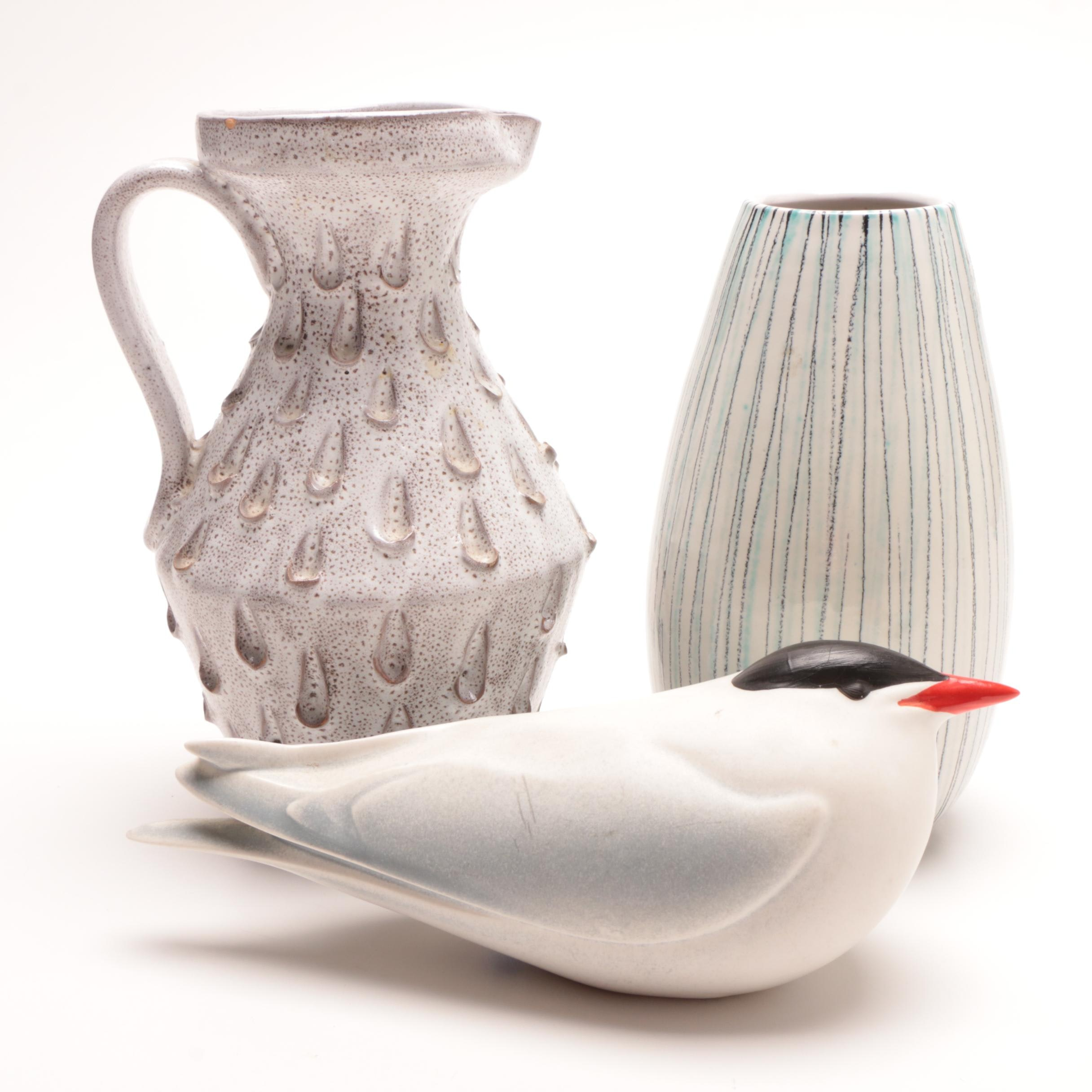 Paul Hoff Gustavsberg Bird Figure with Mid-Century Italian Vases