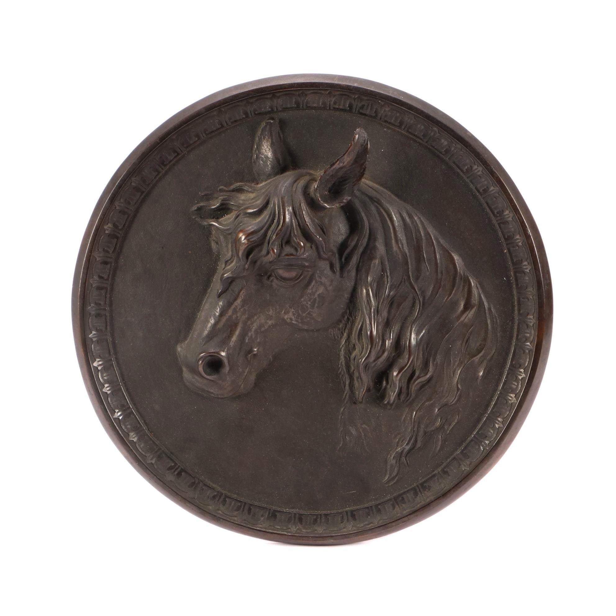 "Cast Iron ""Boucherie Chevaline"" Style Medallion Plaque"