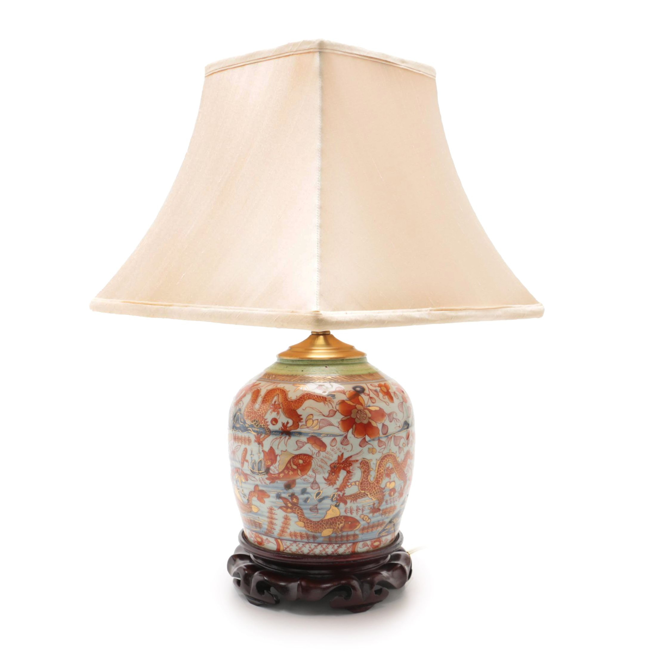 Chinese Porcelain Table Lamp with Beige Silk Shade