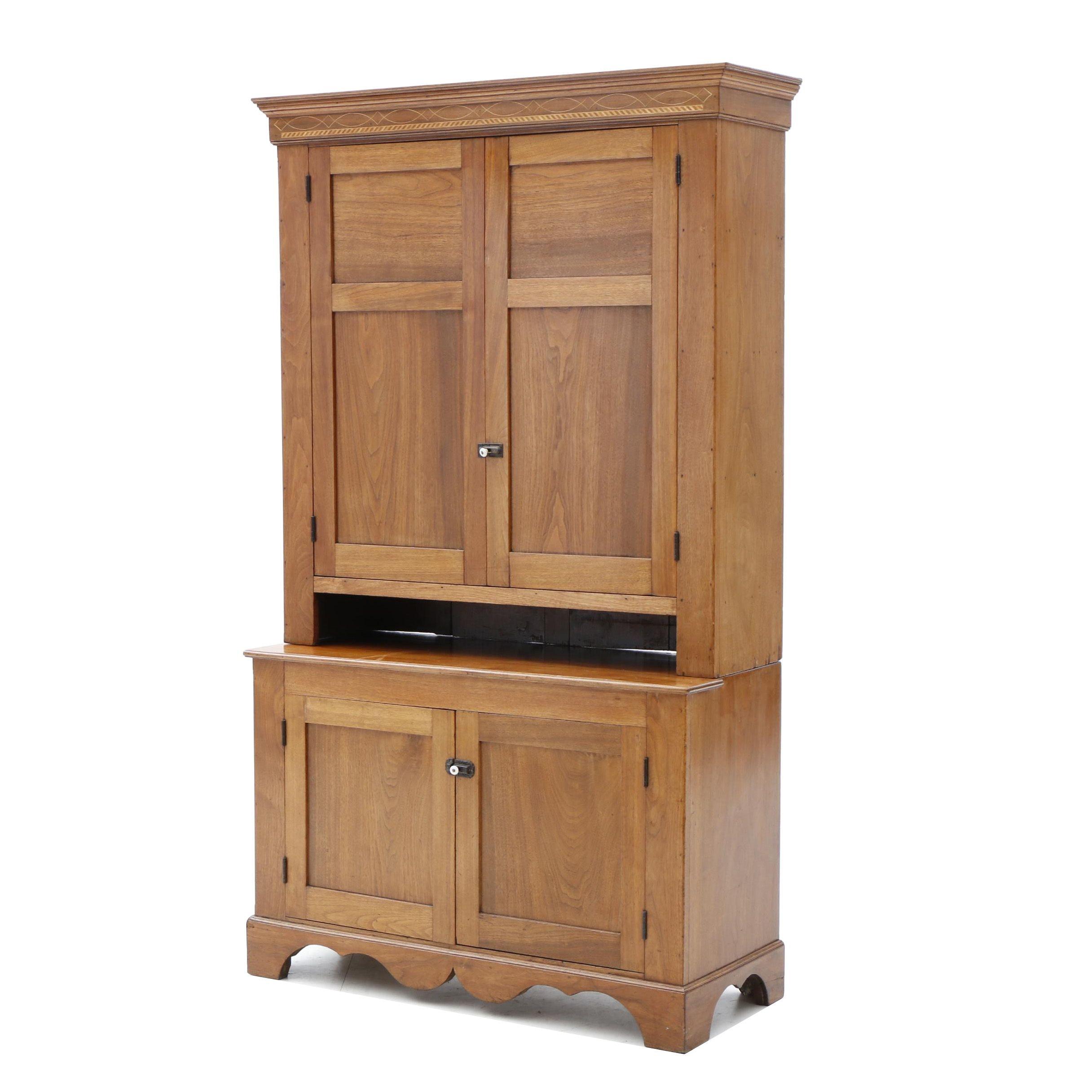 Early Kentucky or Regional Inlaid Walnut Press Cupboard, Early 19th Century
