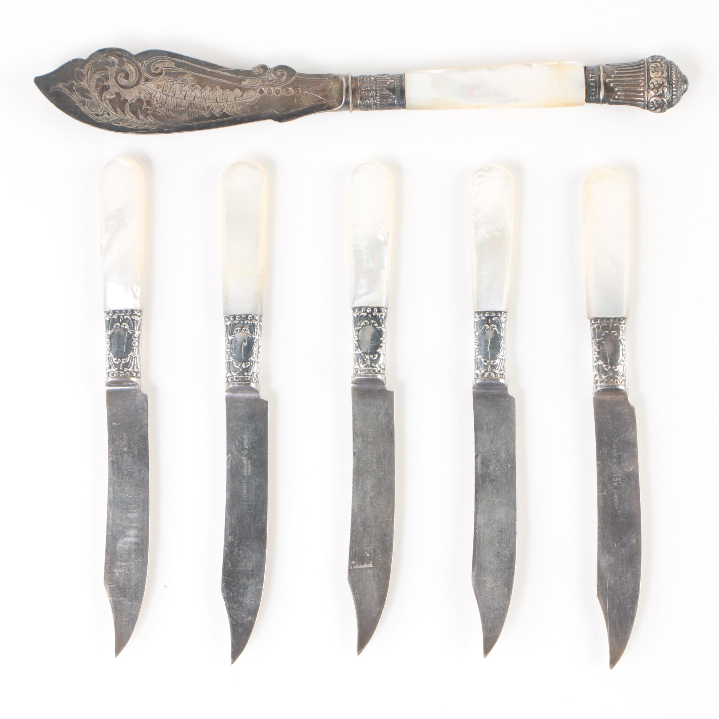 Henry Sears & Son Sterling and Mother of Pearl Fruit Knives with Fish Knife
