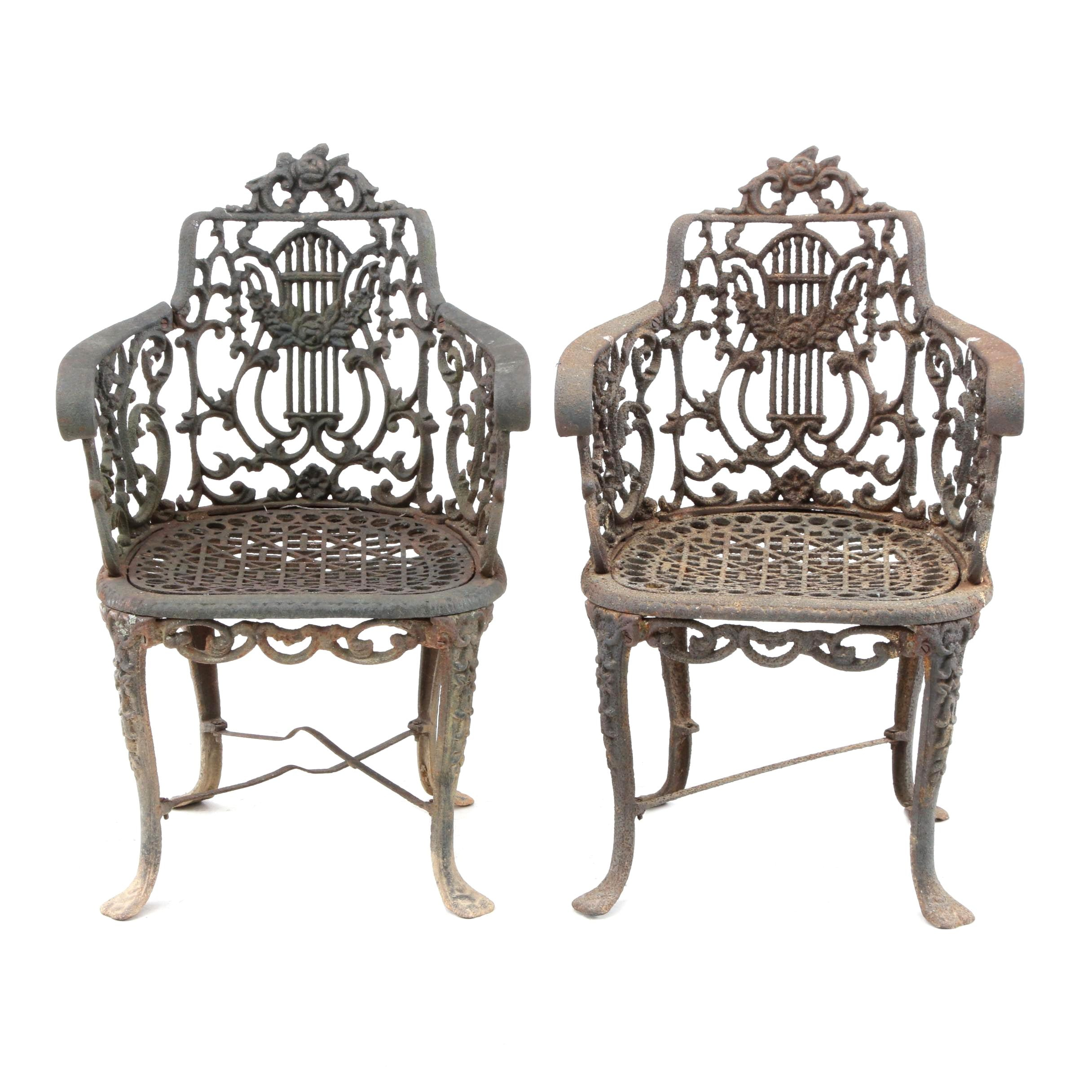 Victorian Cast Iron Garden Chairs, 19th Century