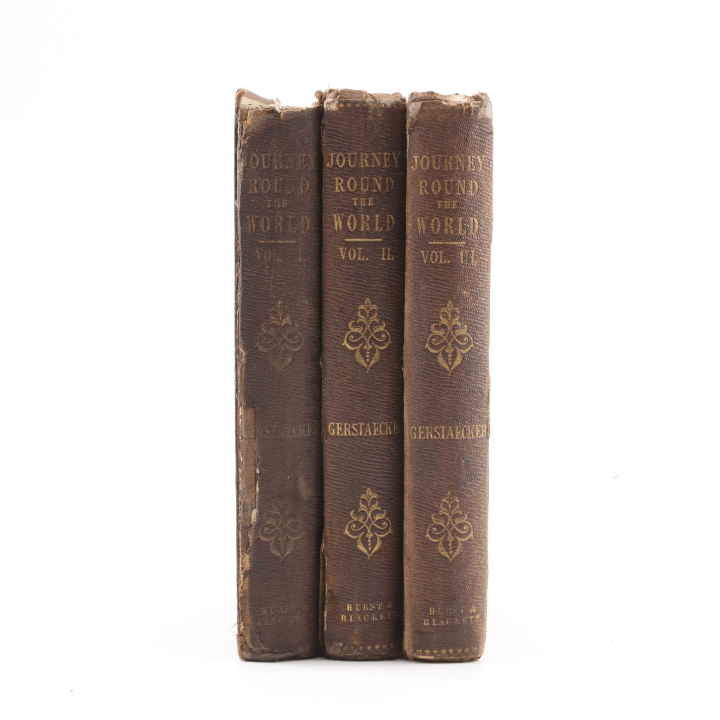 "1853 ""Narrative of a Journey Round the World"" by F. Gerstaecker in Three Volumes"