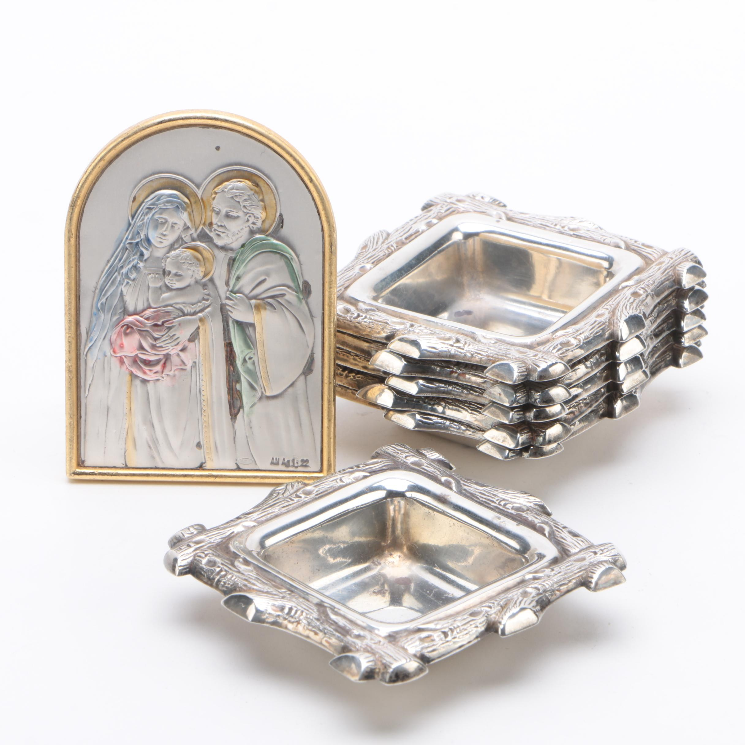 Sterling Silver Nut Dish Set with Framed Italian Holy Family Sterling Plaque