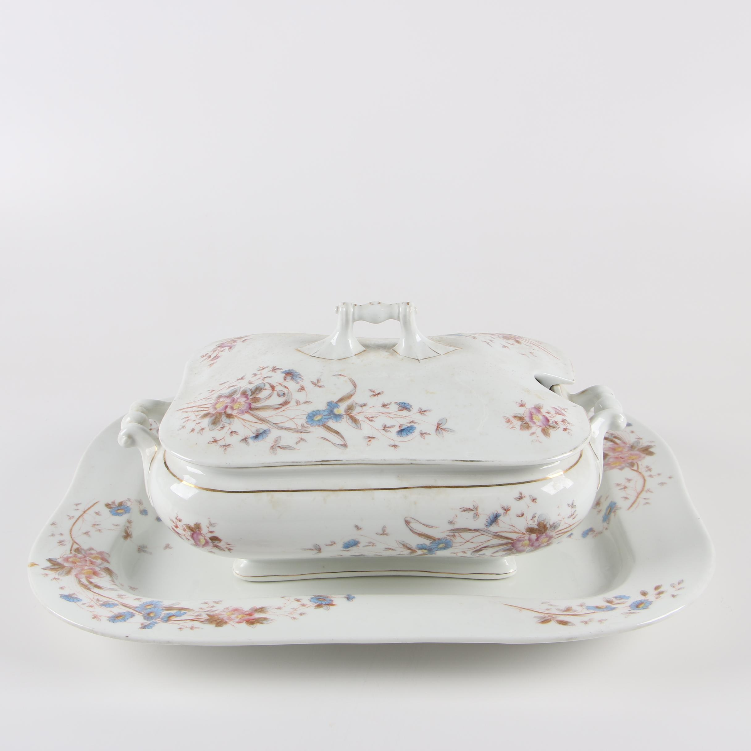 Antique Marx & Gutherz Carlsbad Porcelain Tureen and Under Tray c. 1891-98