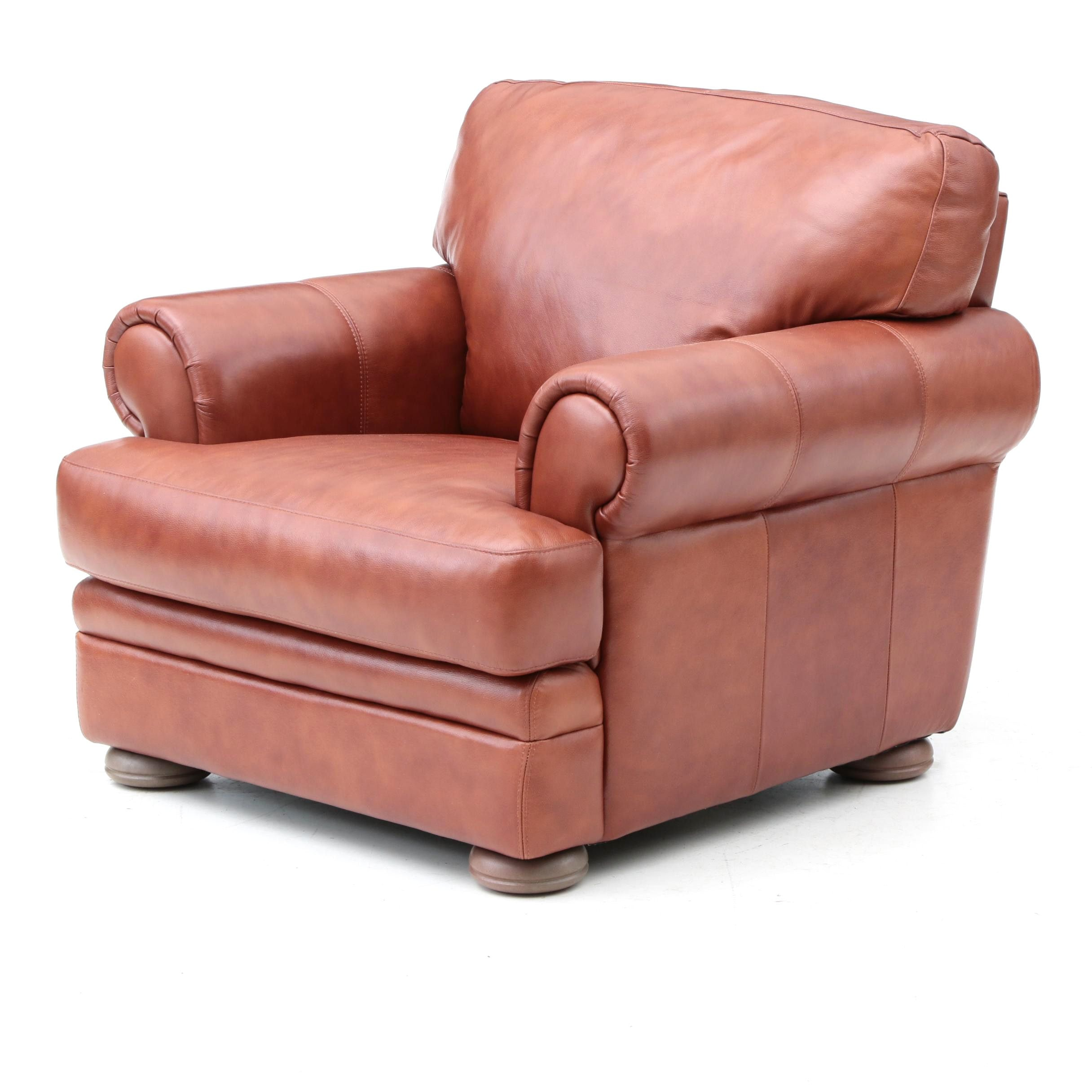 Brown Faux Leather Armchair ...