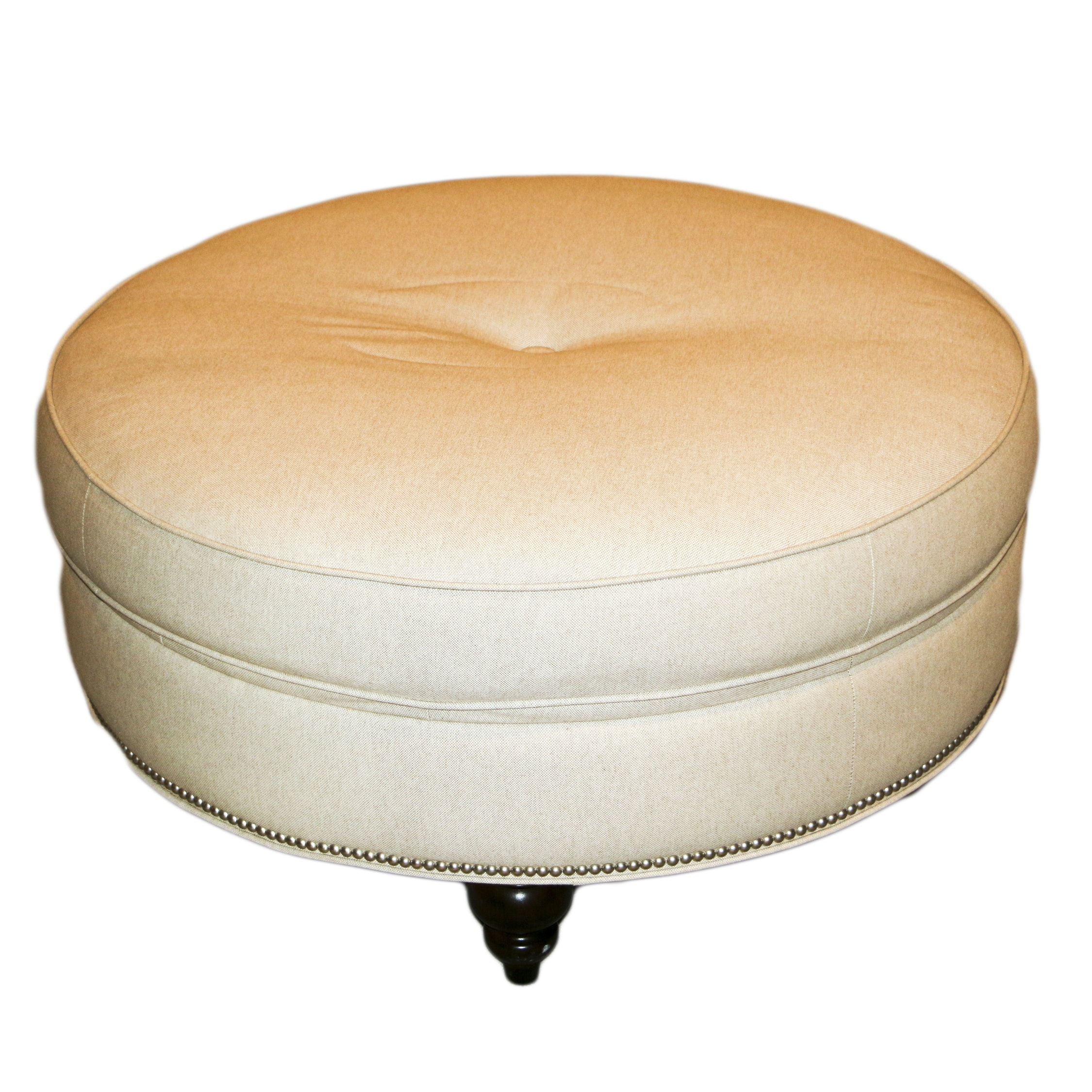 Contemporary Upholstered with Nailhead Trim Ottoman by Bassett