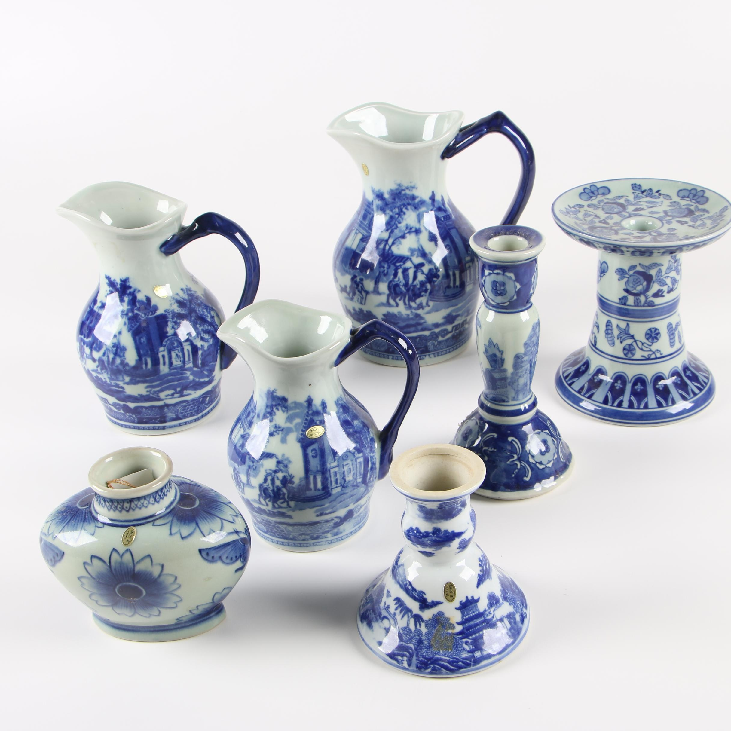 Victoria Ware Graduated Pitchers and Other Chinese Blue and White Ceramics