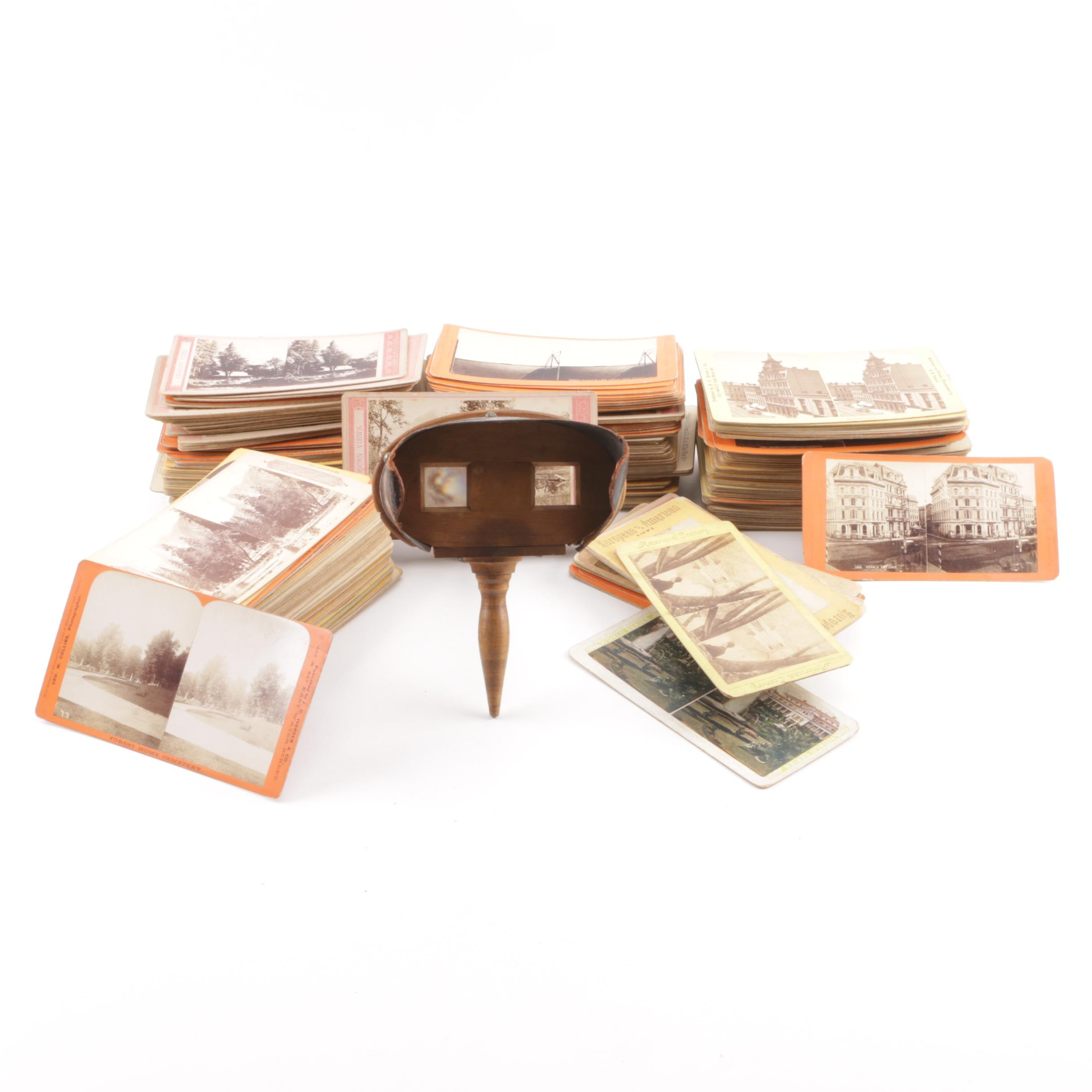 Antique Stereoscope Viewer and Cards