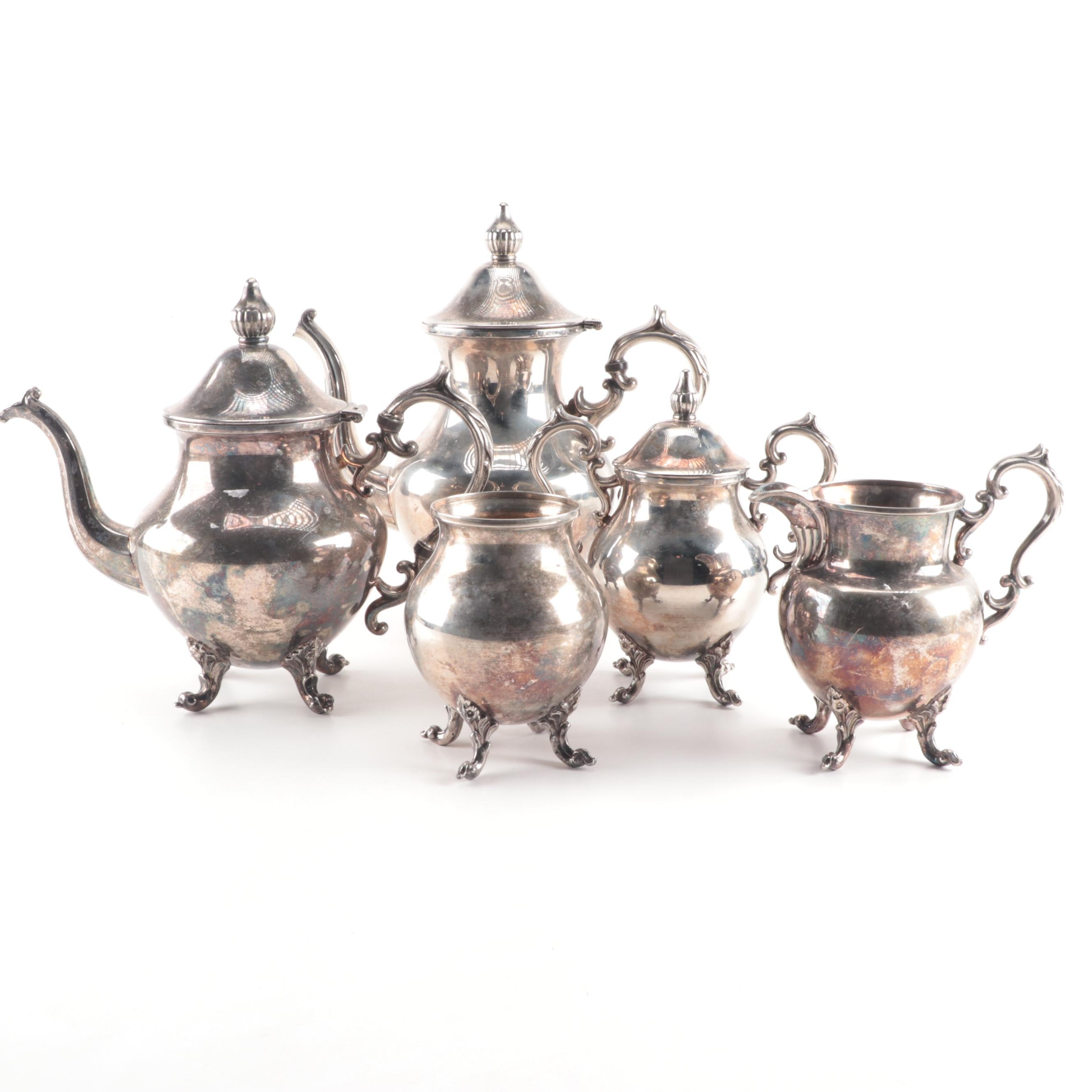 Vintage Birmingham Silver Co. Five-Piece Silver Plate Tea and Coffee Service Set