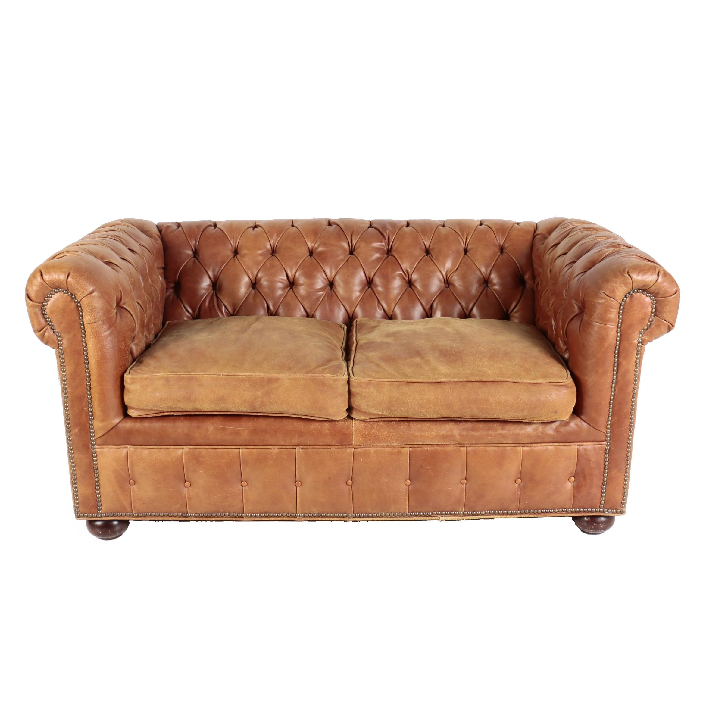 Leather Chesterfield Style Loveseat by Old Hickory Tannery