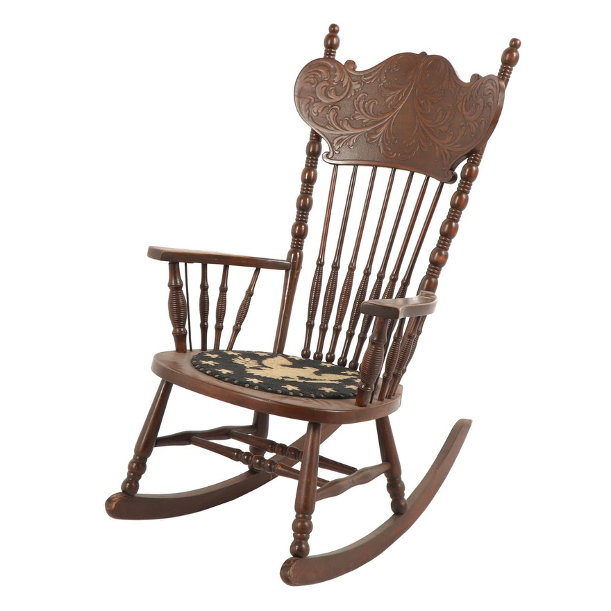 Surprising American Federal Style Eagle Seat Press Back Rocking Chair Early 20Th Century Interior Design Ideas Clesiryabchikinfo