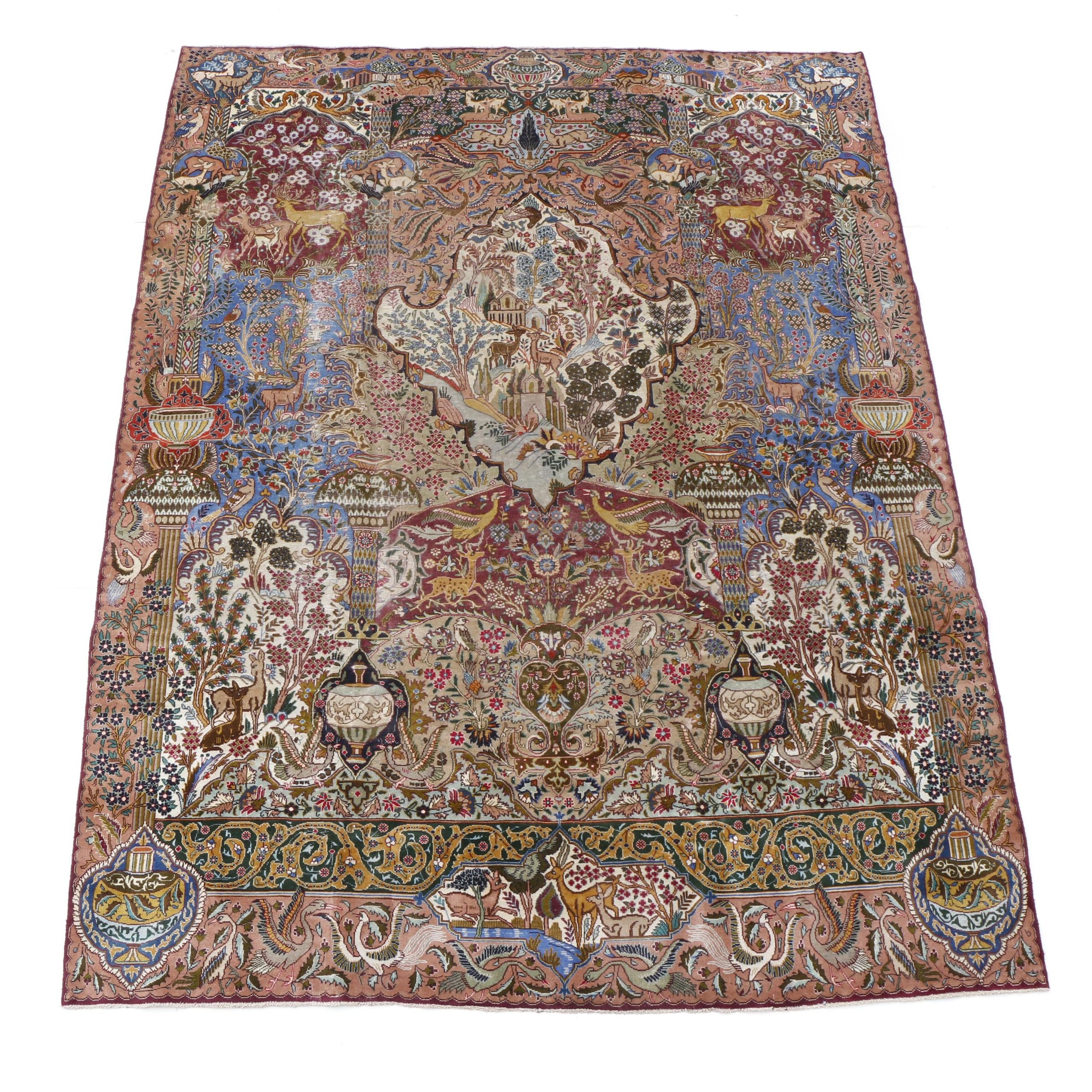 Hand-Knotted Persian Qum Tree of Life Room-Size Rug