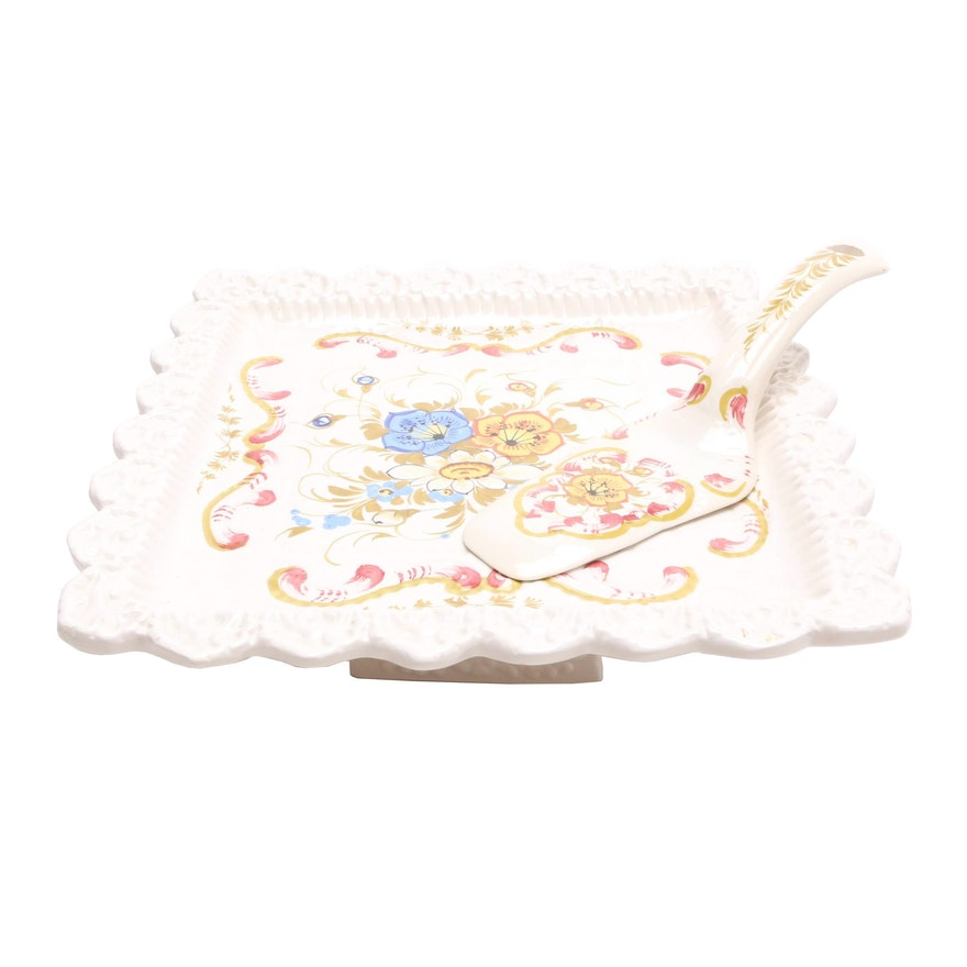 Italian Hand Painted Pie Stand and Server by Ardalt