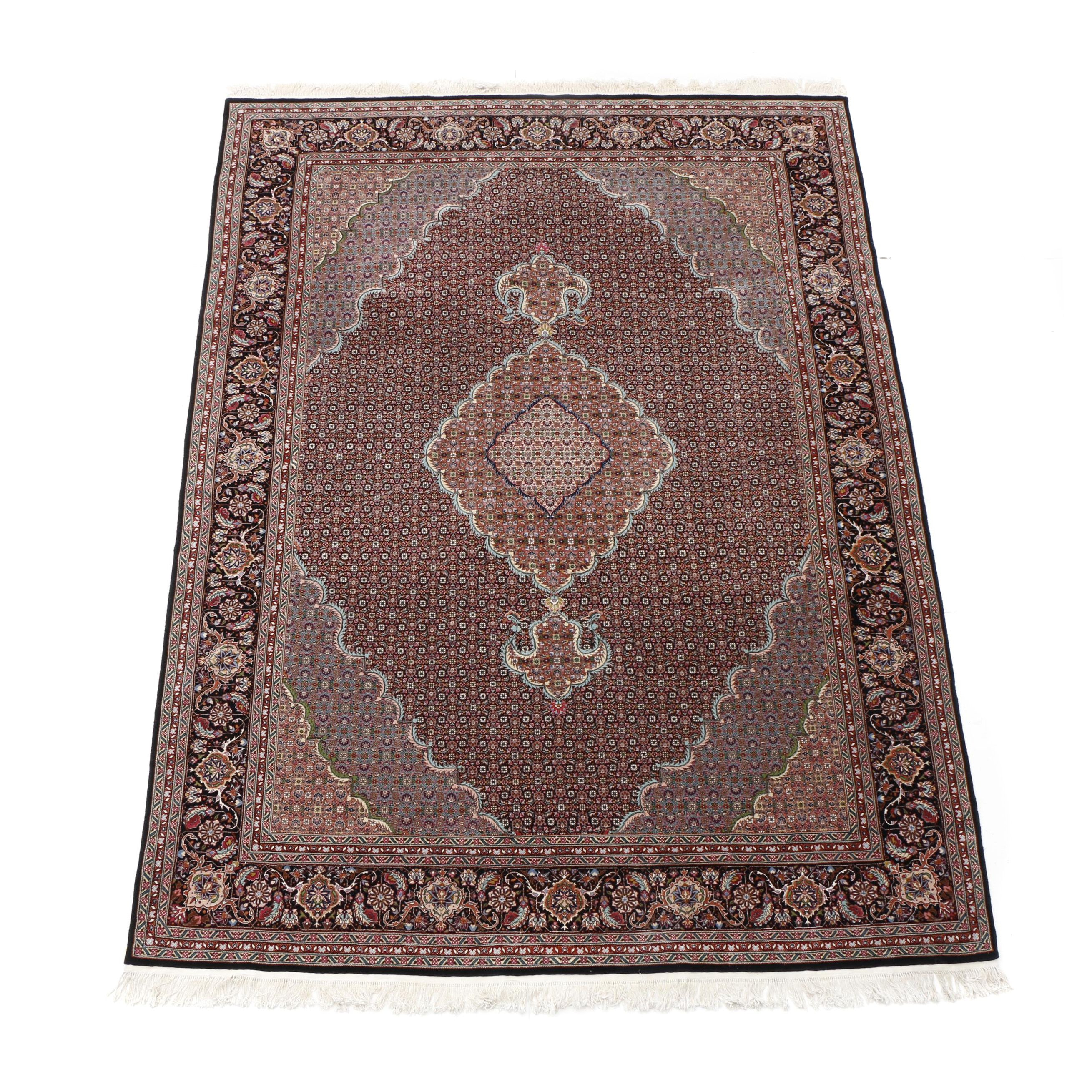 Hand-Knotted Sino-Persian Tabriz Wool and Silk Room-Size Rug