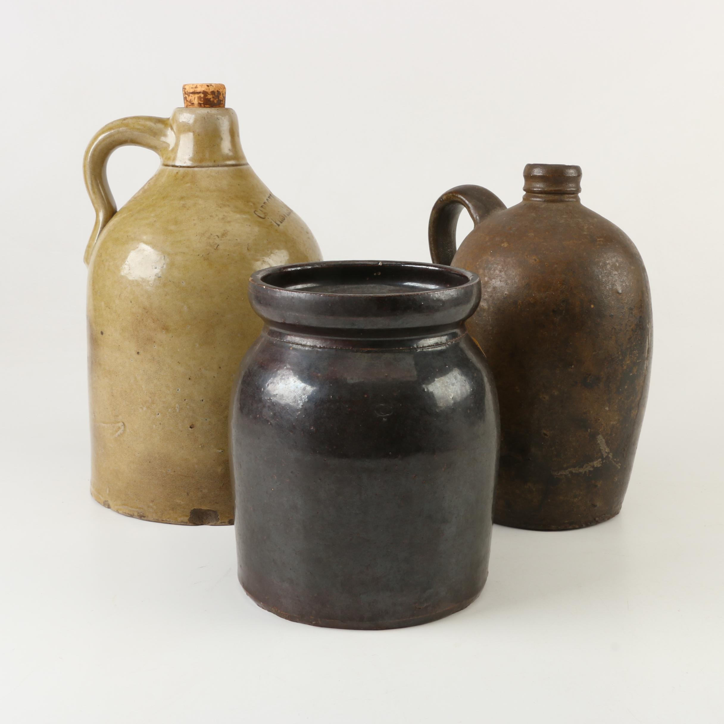 Antique and Vintage Stoneware Jugs and Crock including Caproni Bros.
